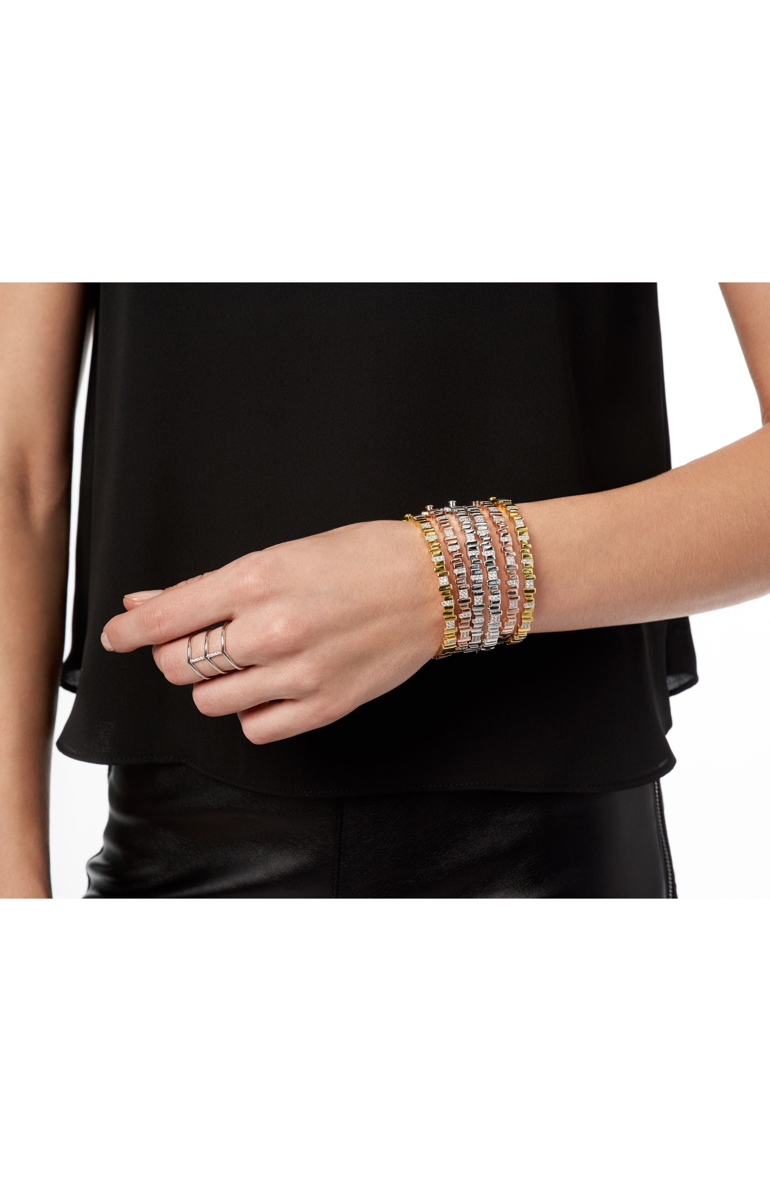 Radiance Cubic Zirconia Bangle,                             Alternate thumbnail 3, color,                             Silver/ Gold