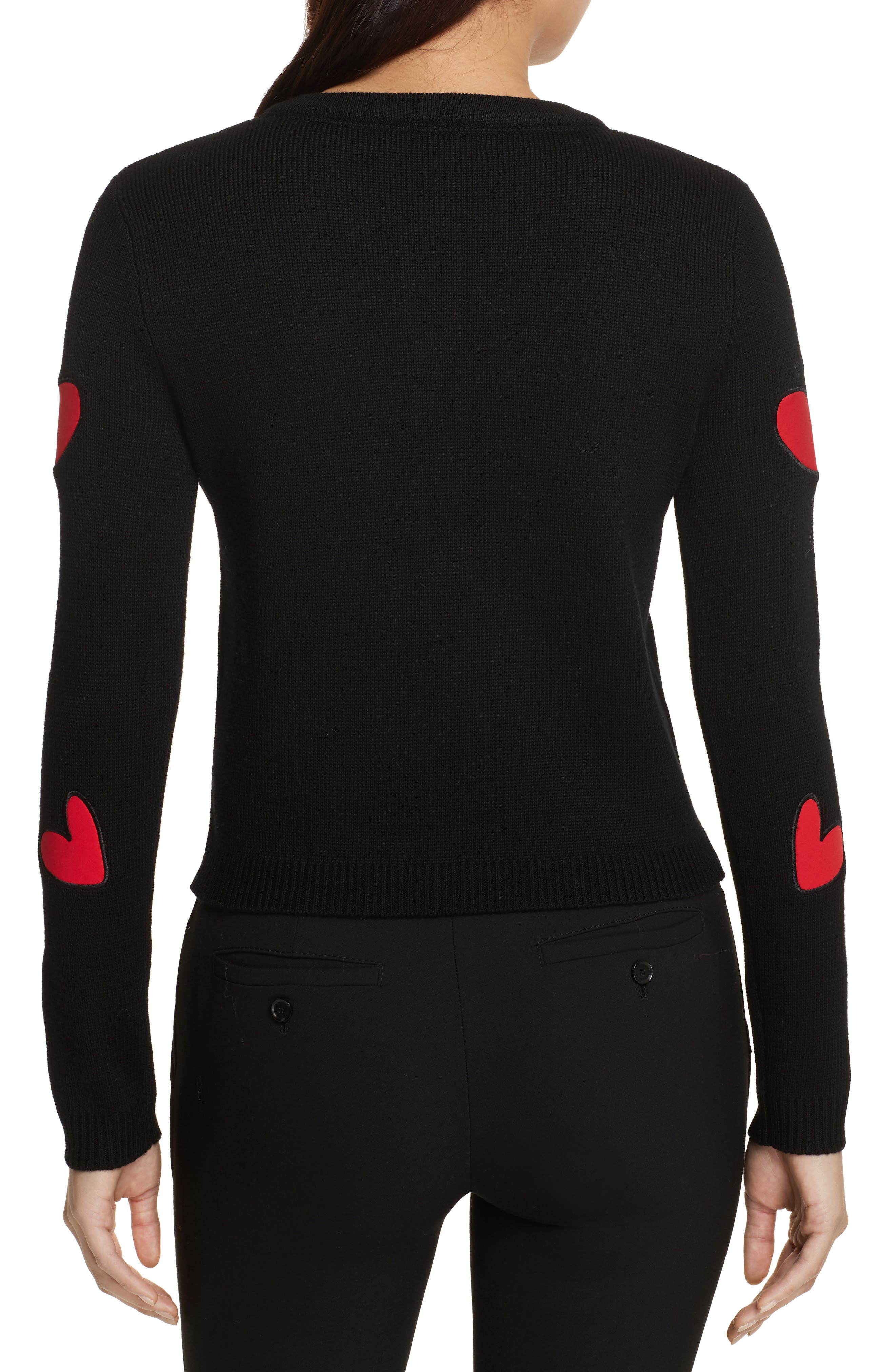 Ruthy Heart Appliqué Cardigan,                             Alternate thumbnail 2, color,                             Black/ Apple