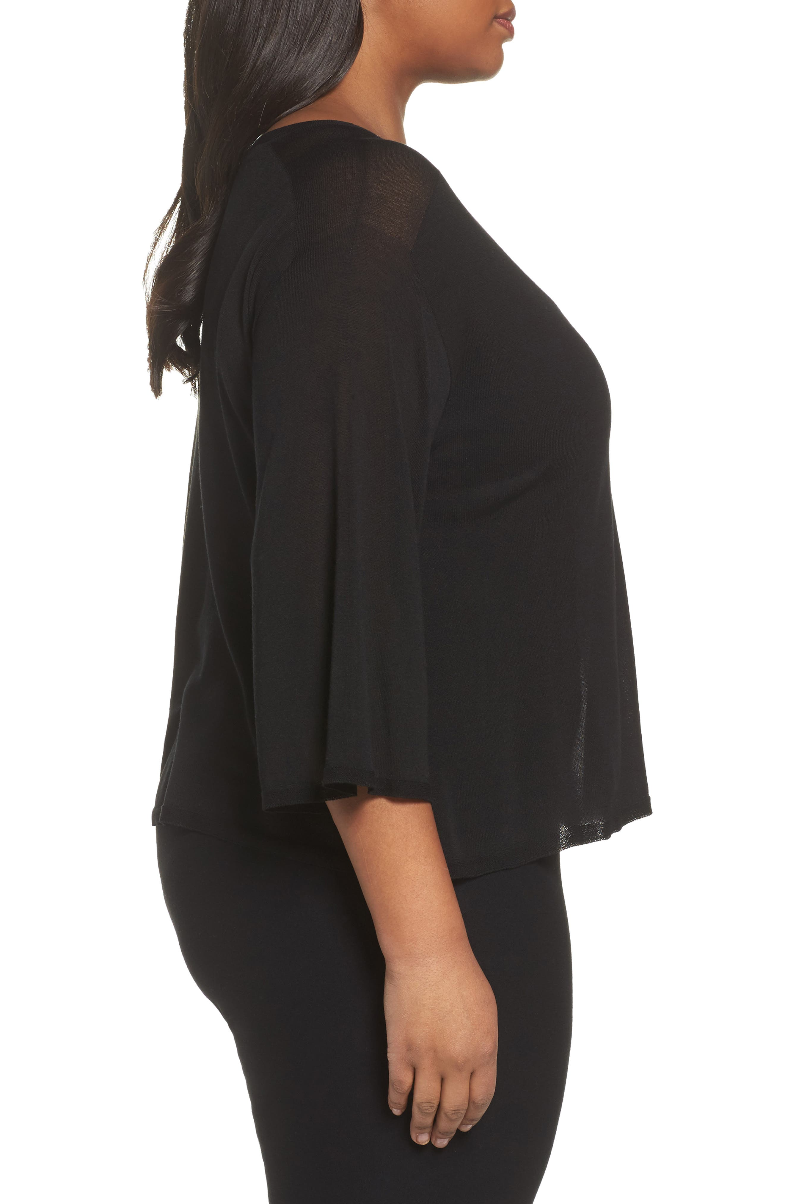 Tencel<sup>®</sup> Lyocell Lyocell Knit Sweater,                             Alternate thumbnail 3, color,                             Black