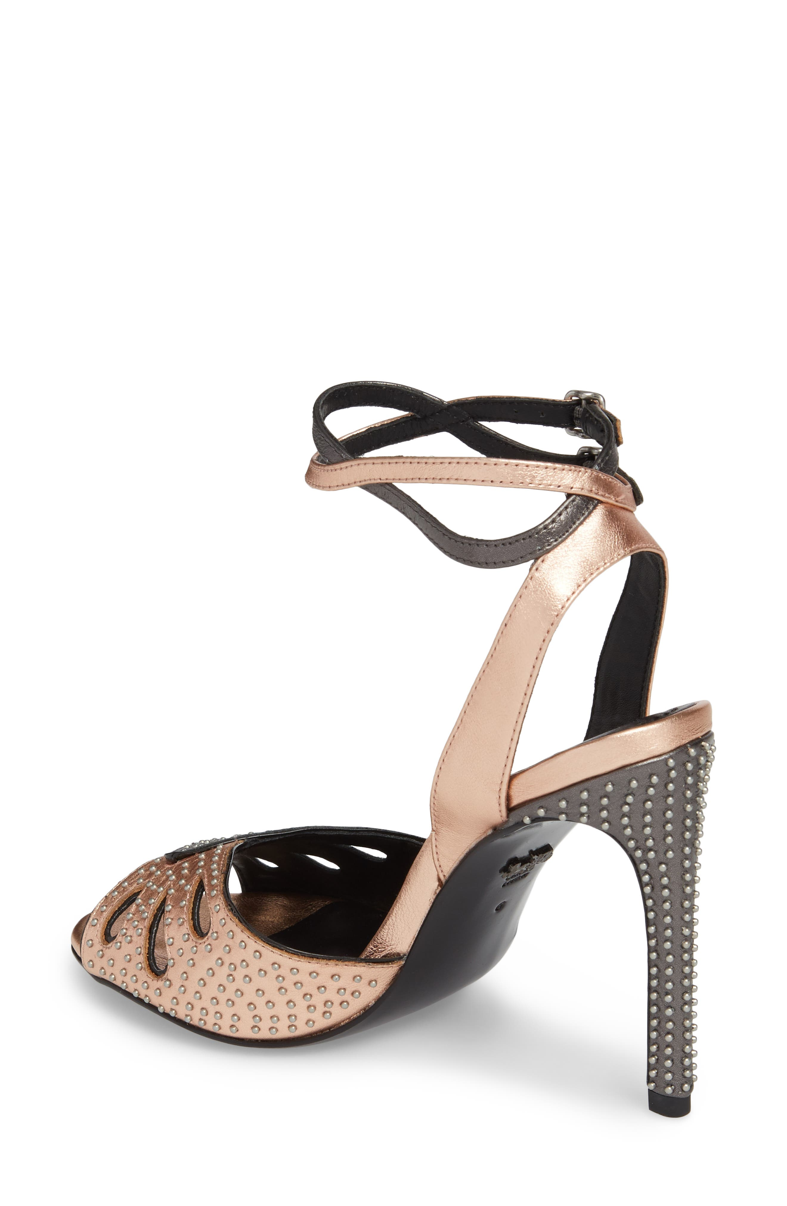 Prairie Rivet Sandal,                             Alternate thumbnail 2, color,                             Rose Gold/ Gunmetal