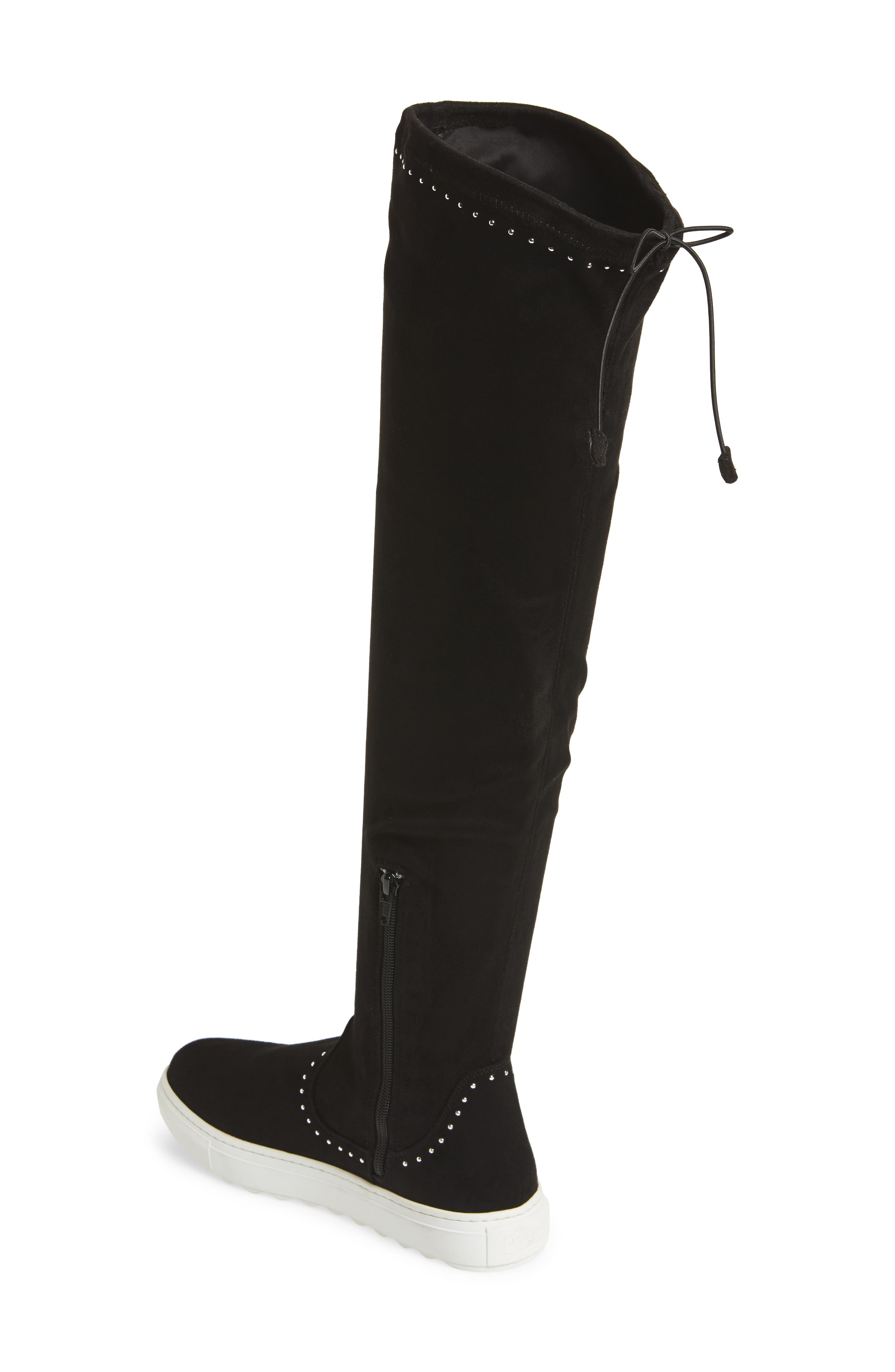 Plentee Over the Knee Boot,                             Alternate thumbnail 2, color,                             Black Stretch Suede