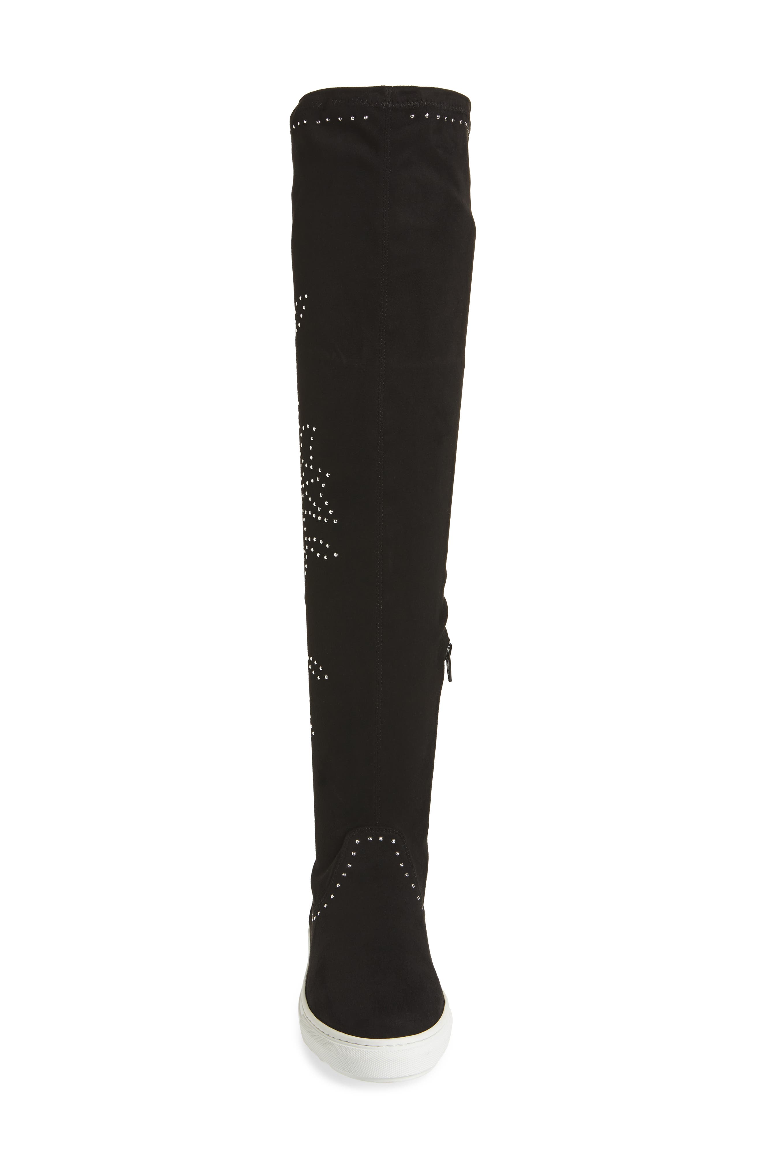 Plentee Over the Knee Boot,                             Alternate thumbnail 4, color,                             Black Stretch Suede