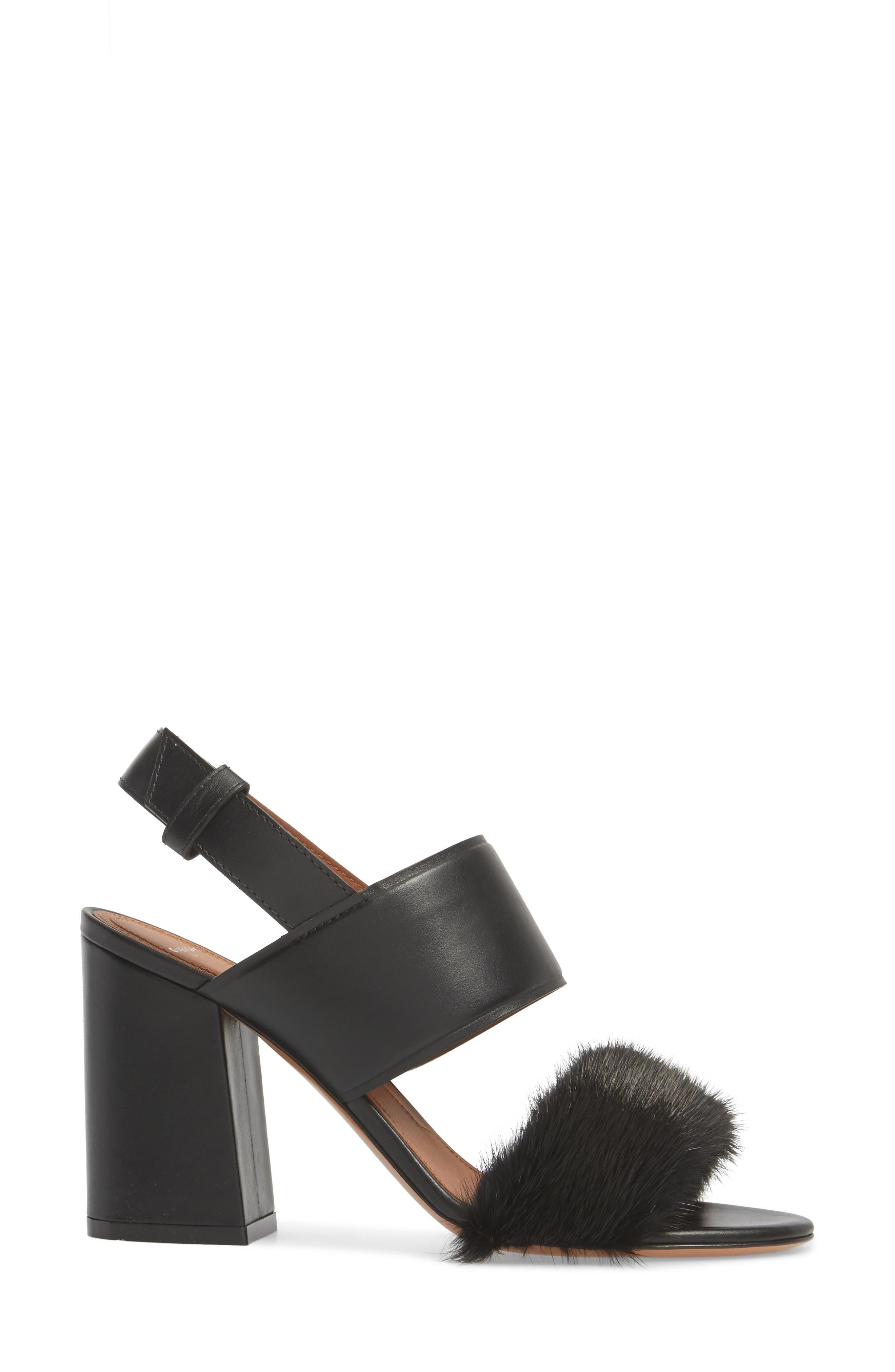 Genuine Mink Flared Heel Sandal,                             Alternate thumbnail 3, color,                             Black