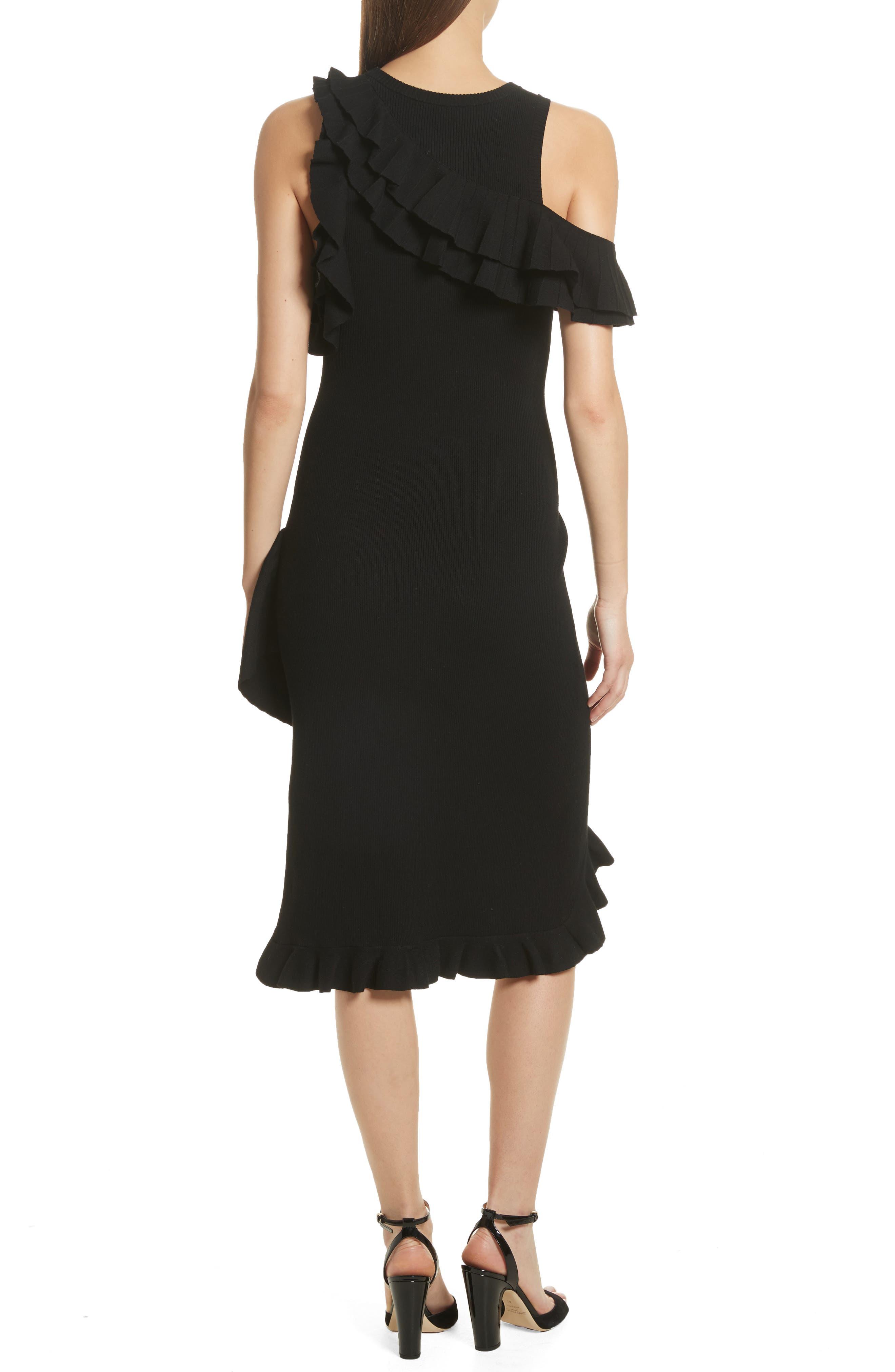 Kellam Ruffle Body-Con Dress,                             Alternate thumbnail 2, color,                             Black