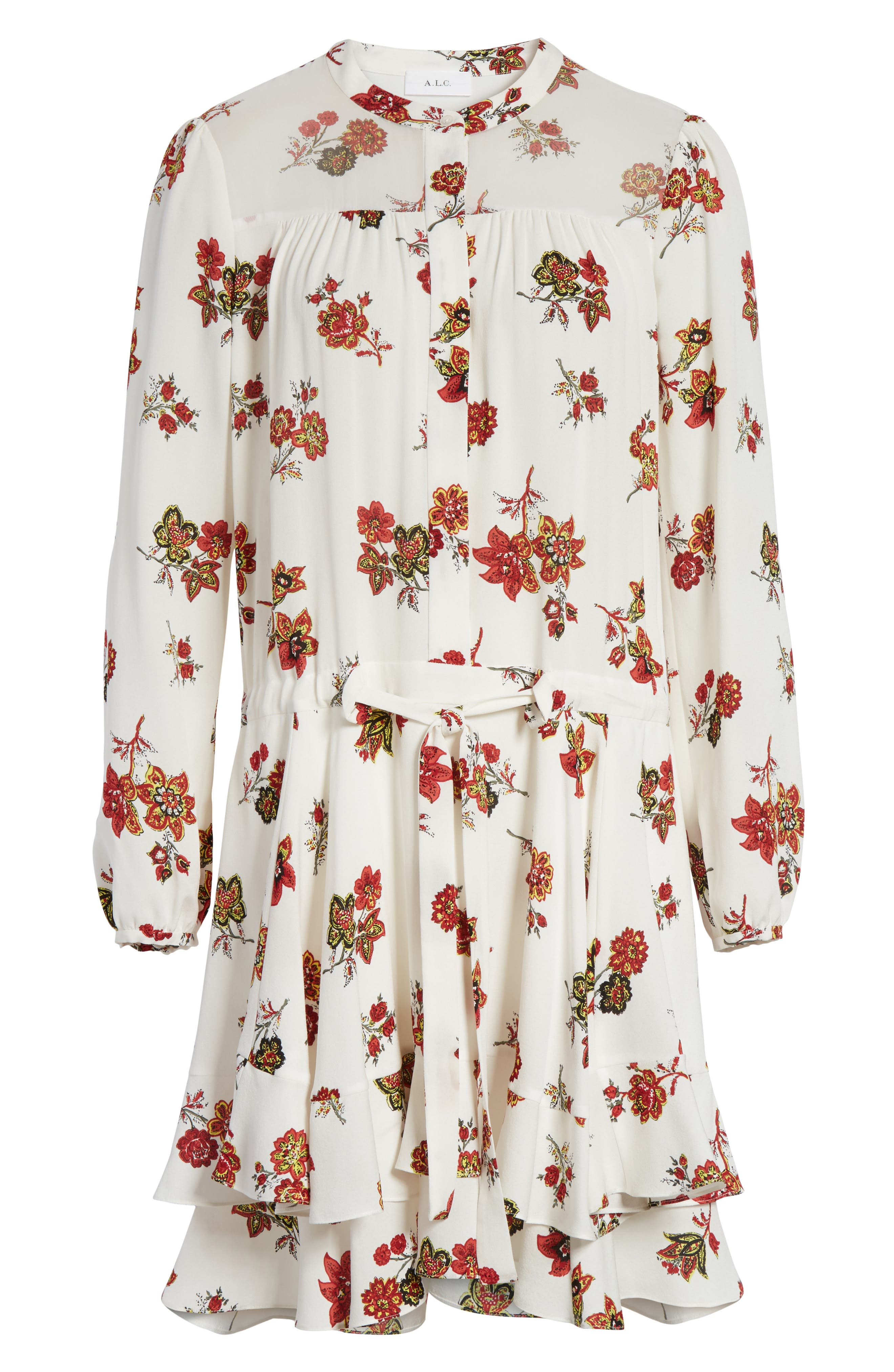 Rori Silk Drop Waist Dress,                             Alternate thumbnail 6, color,                             Eggshell