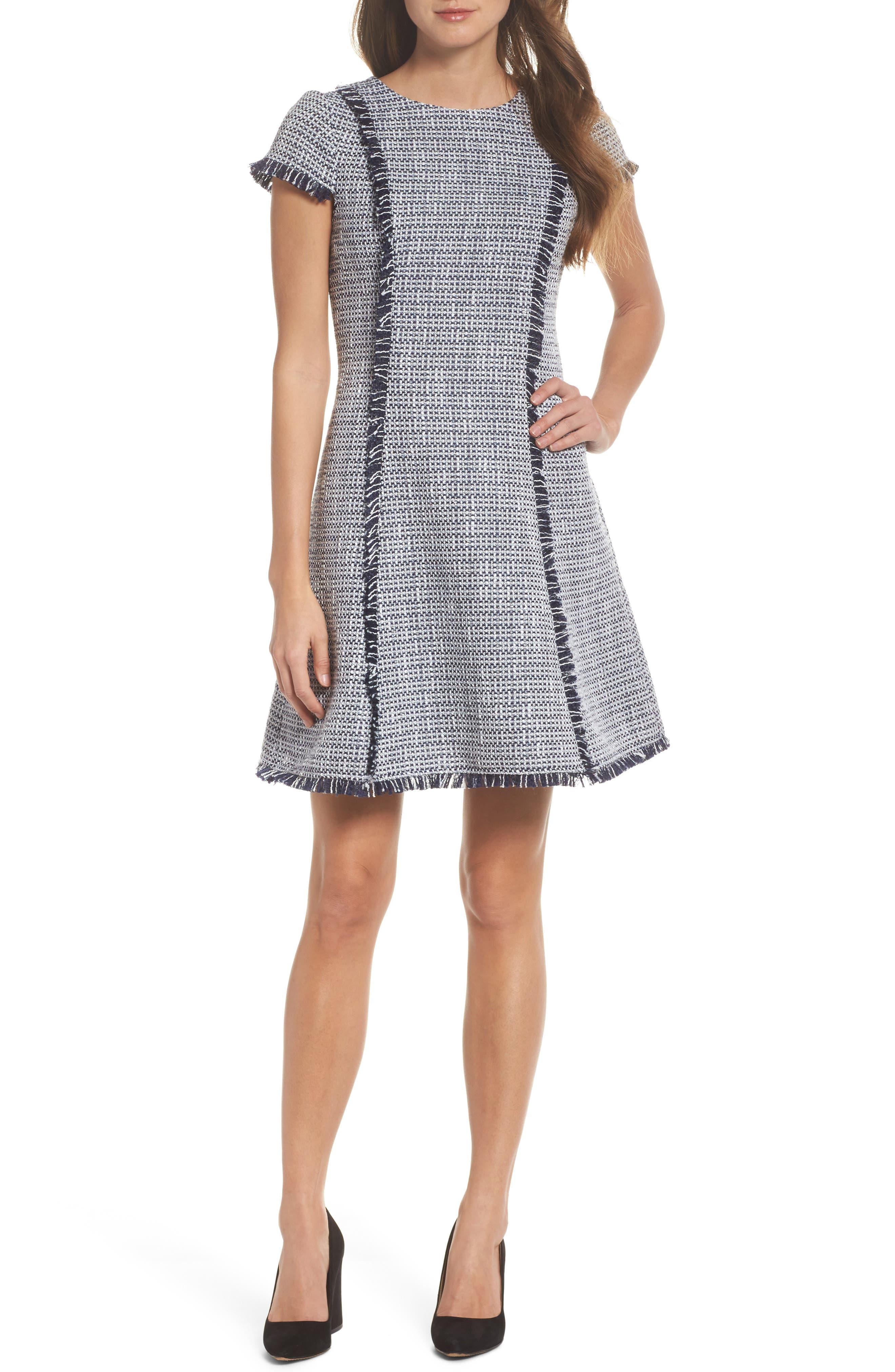 Eliza J Tweed Fit & Flare Dress