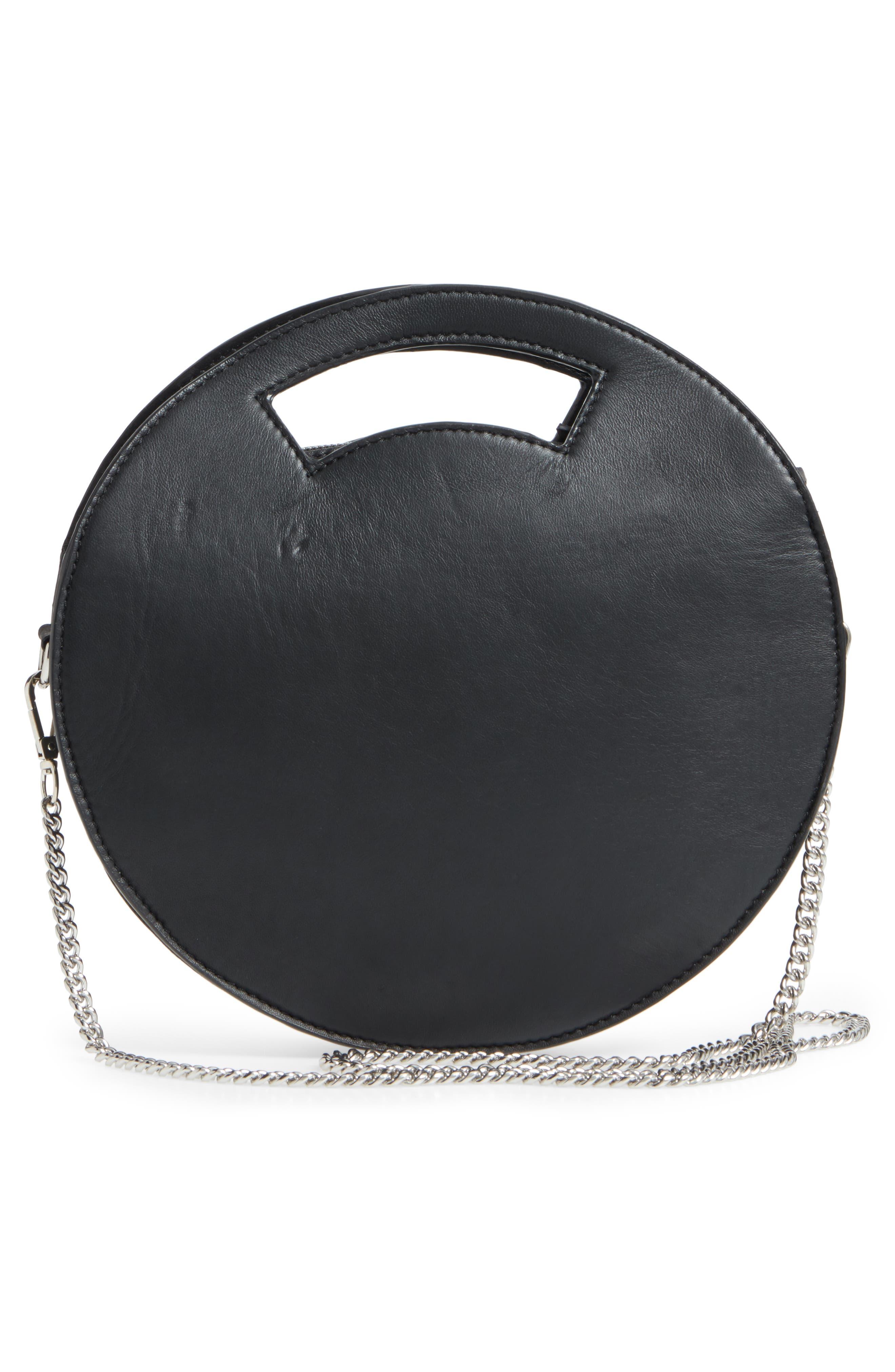 Premium Leather Circle Crossbody Bag,                             Alternate thumbnail 3, color,                             Black
