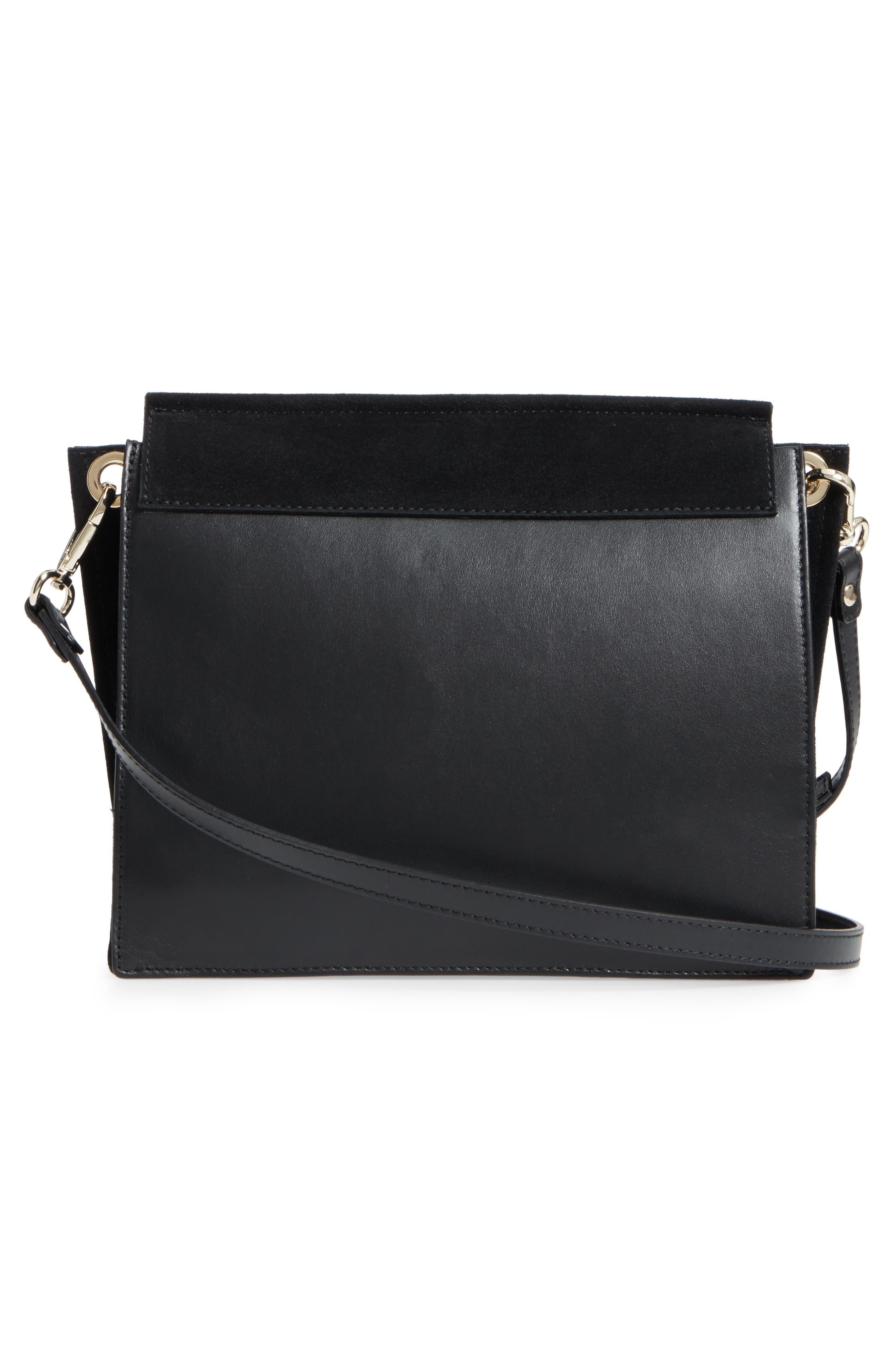 Premium Leather & Suede Soko Shoulder Bag,                             Alternate thumbnail 3, color,                             Black