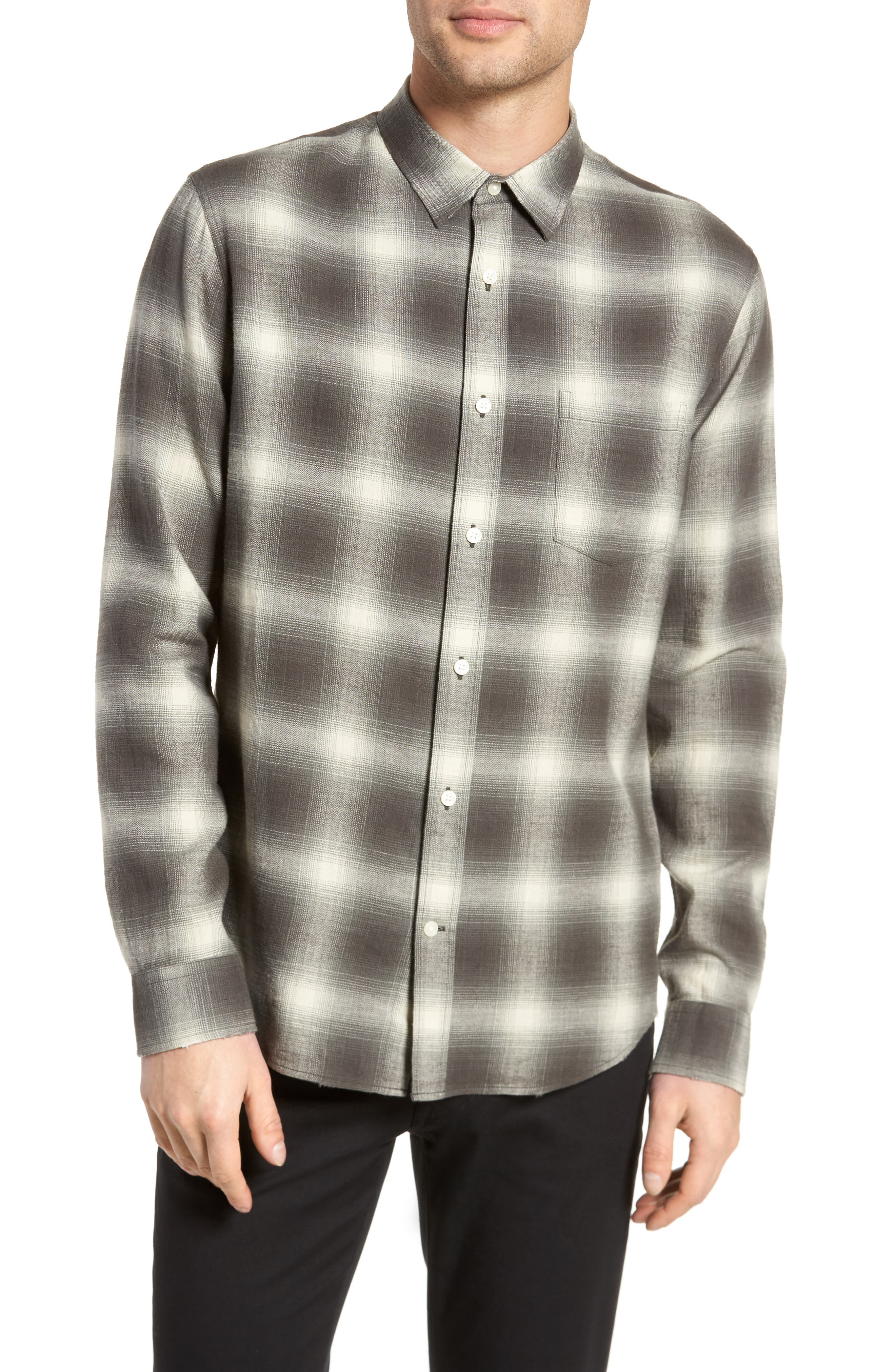 Shadow Plaid Sport Shirt,                             Main thumbnail 1, color,                             Grey