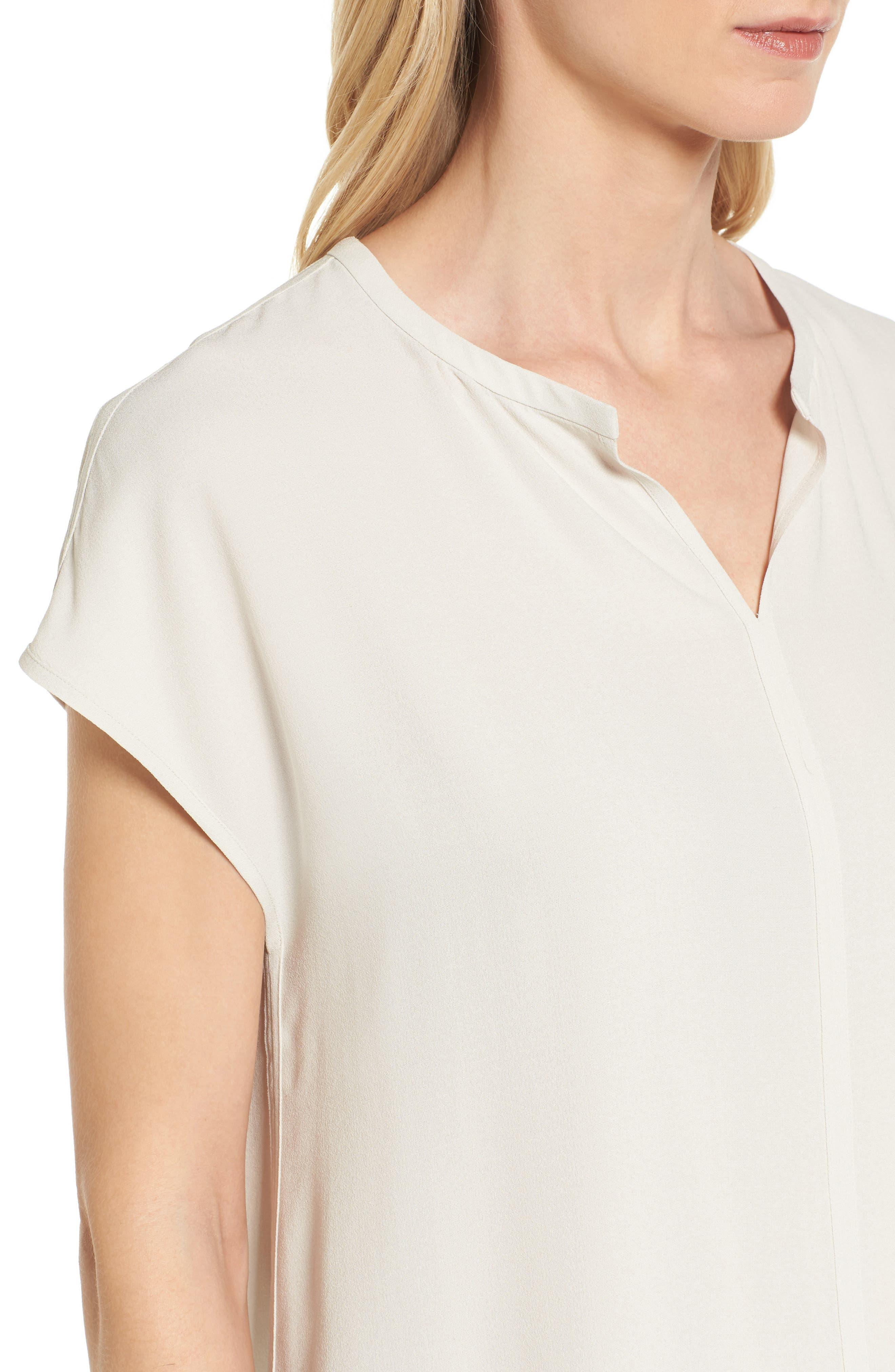 Split Neck Silk Shirt,                             Alternate thumbnail 4, color,                             Bone
