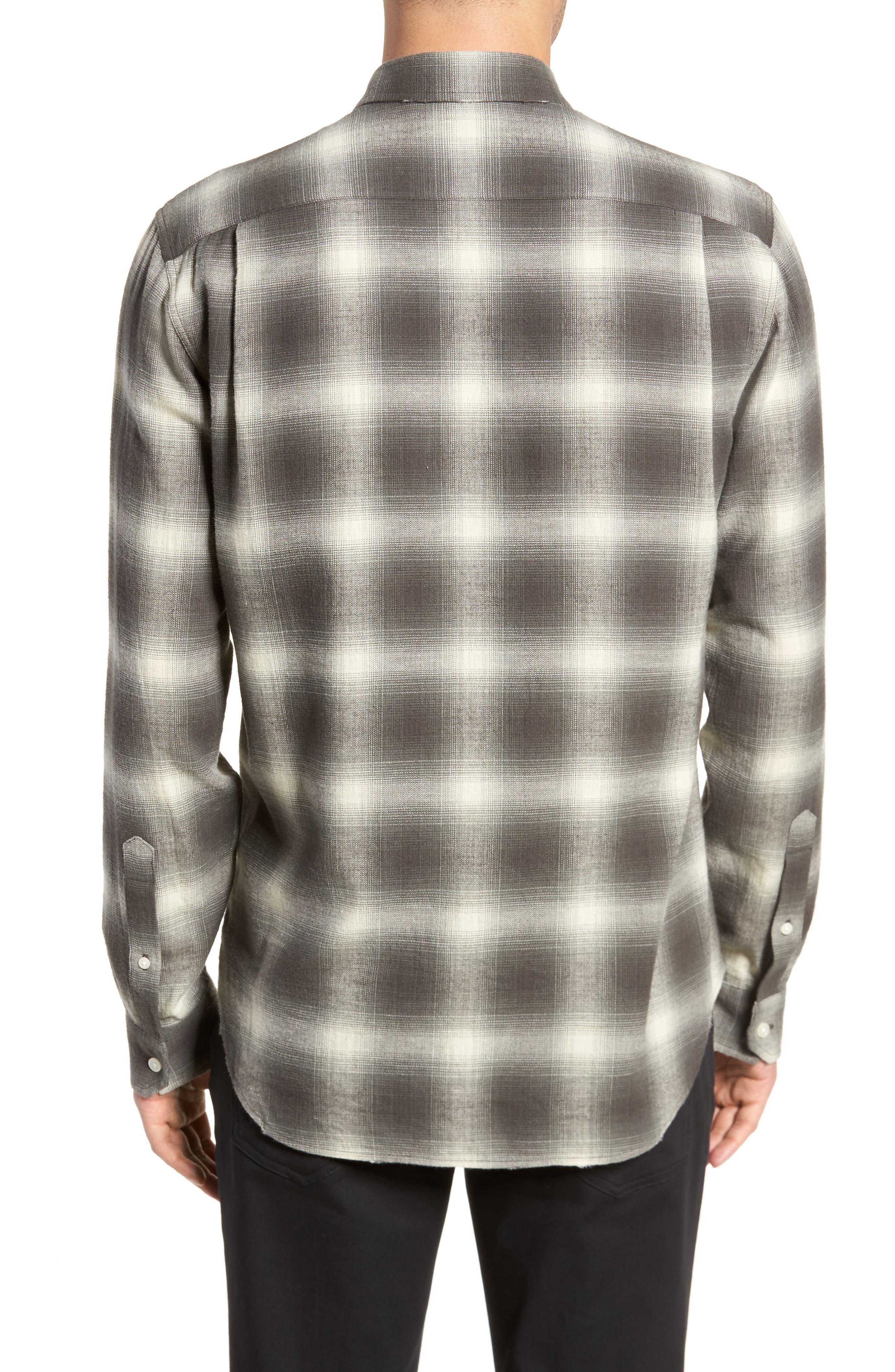 Shadow Plaid Sport Shirt,                             Alternate thumbnail 3, color,                             Grey