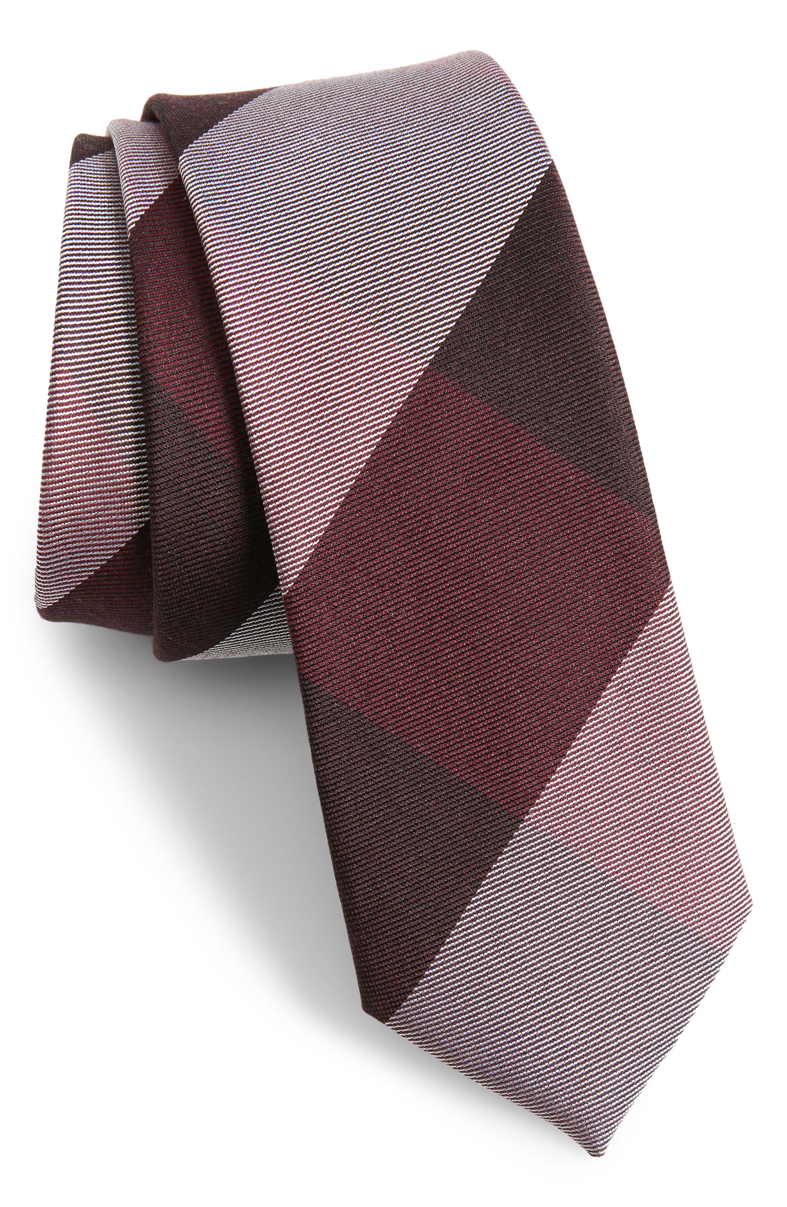 West Bison Plaid Wool & Silk Skinny Tie,                         Main,                         color, Burgundy