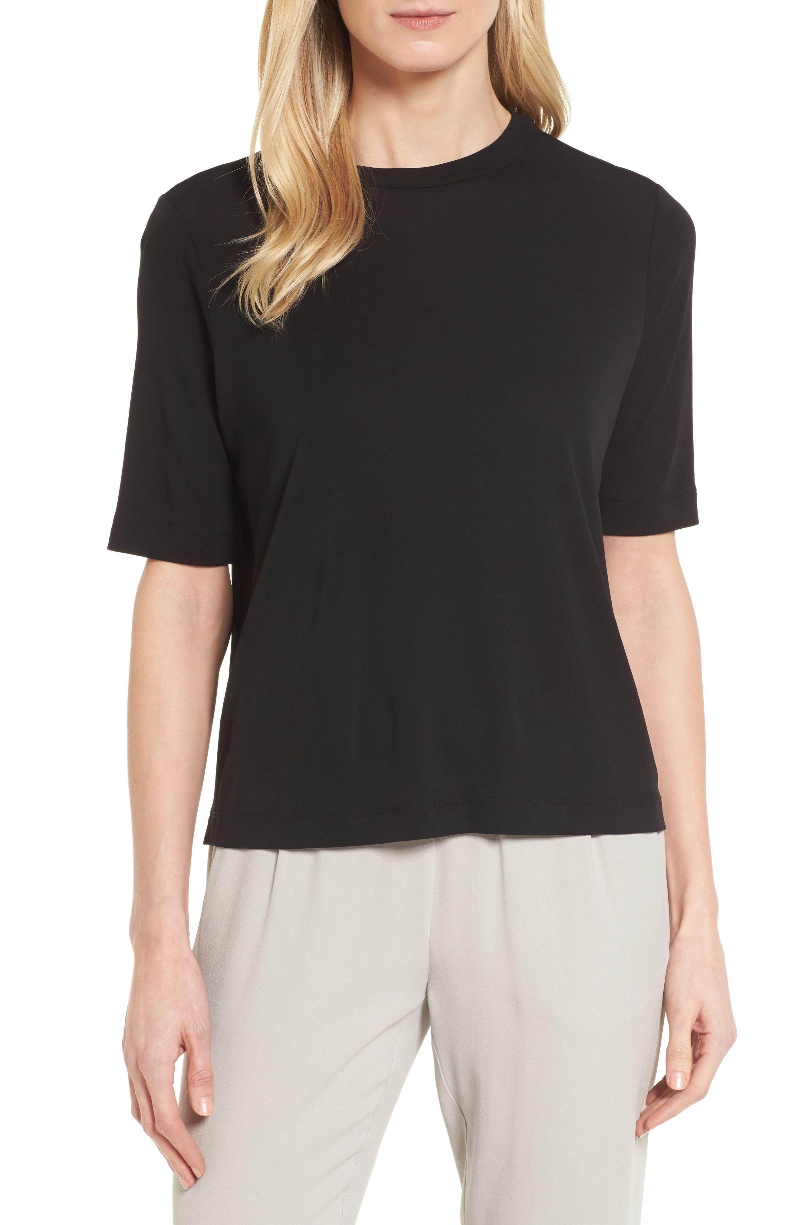Crewneck Silk Top,                         Main,                         color, Black