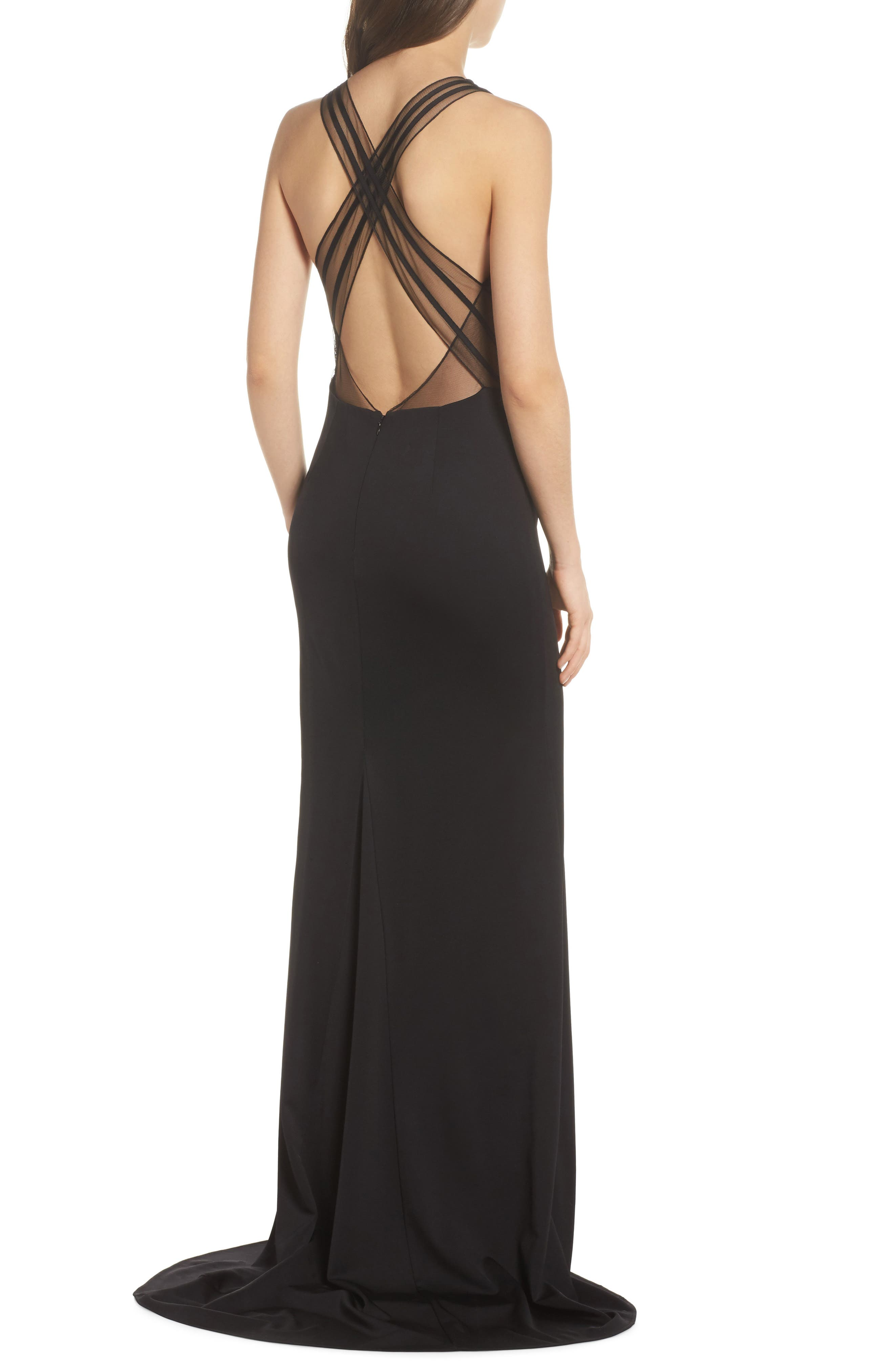 Lola Crossback Jersey Halter Gown,                             Alternate thumbnail 2, color,                             Black