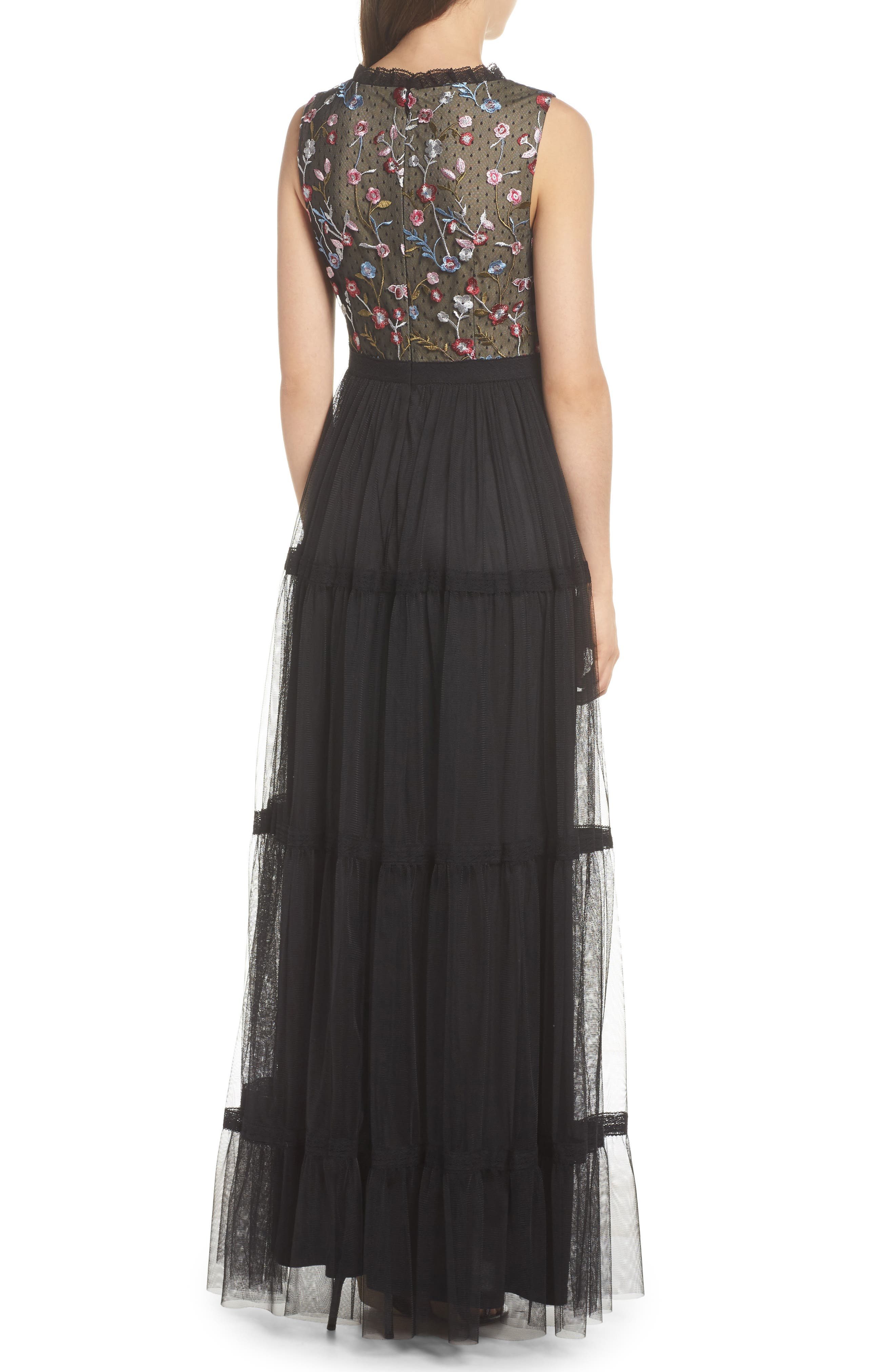 Alternate Image 2  - Adrianna Papell Embroidered Tiered Tulle Gown