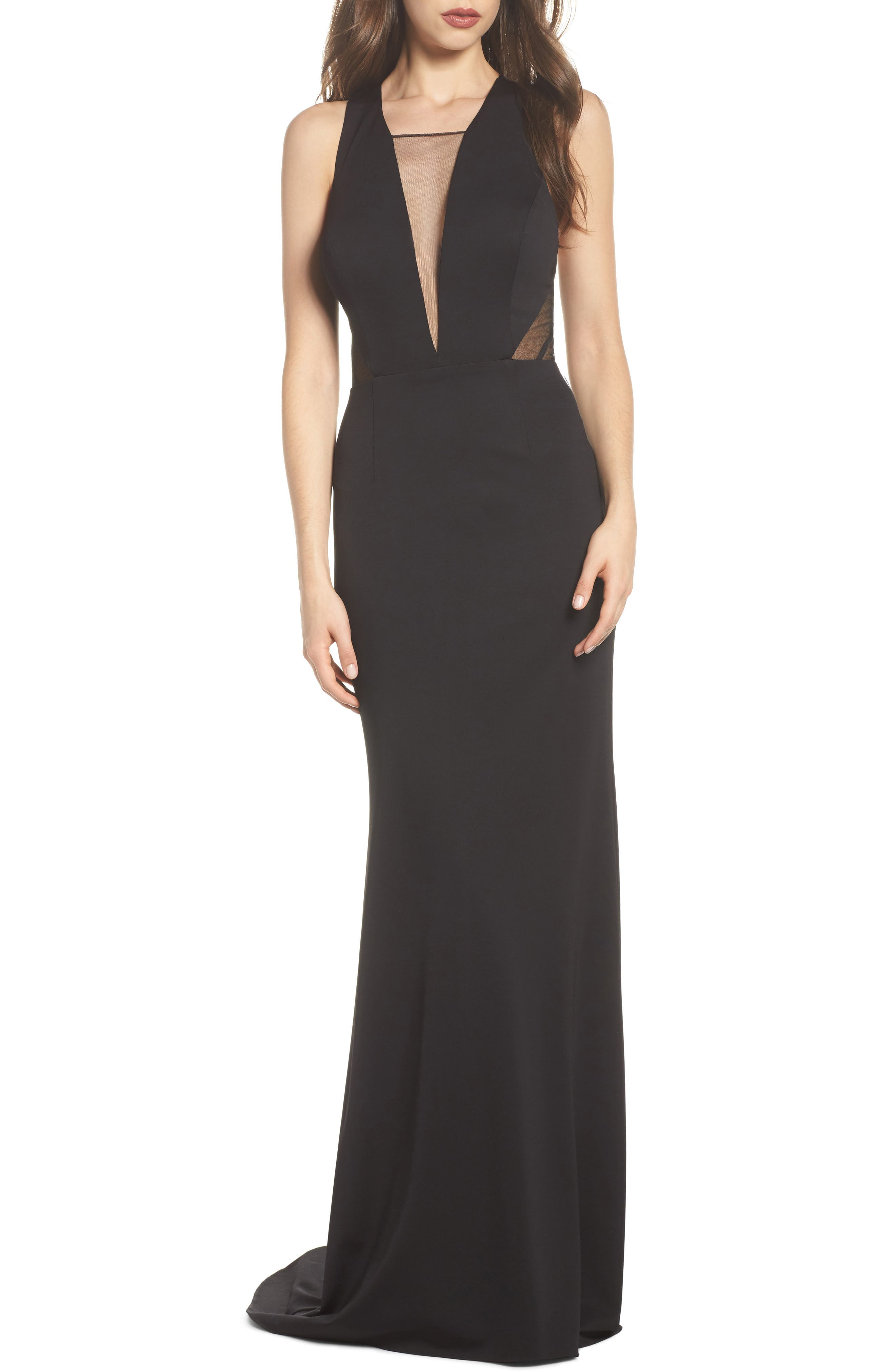 Lola Crossback Jersey Halter Gown,                             Main thumbnail 1, color,                             Black