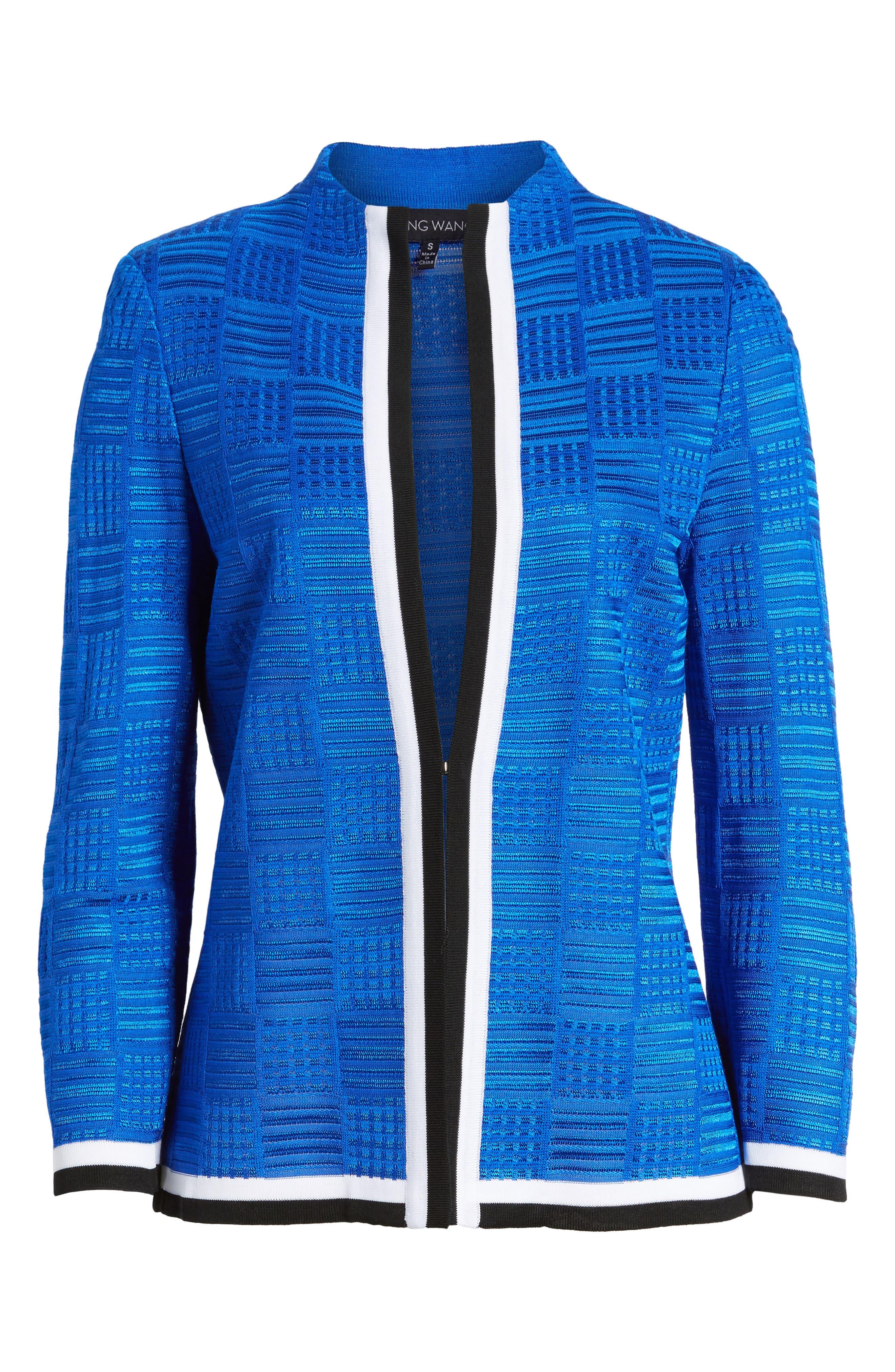 Basketweave Jacquard Jacket,                             Alternate thumbnail 6, color,                             Patriot Blue/ Black/ White