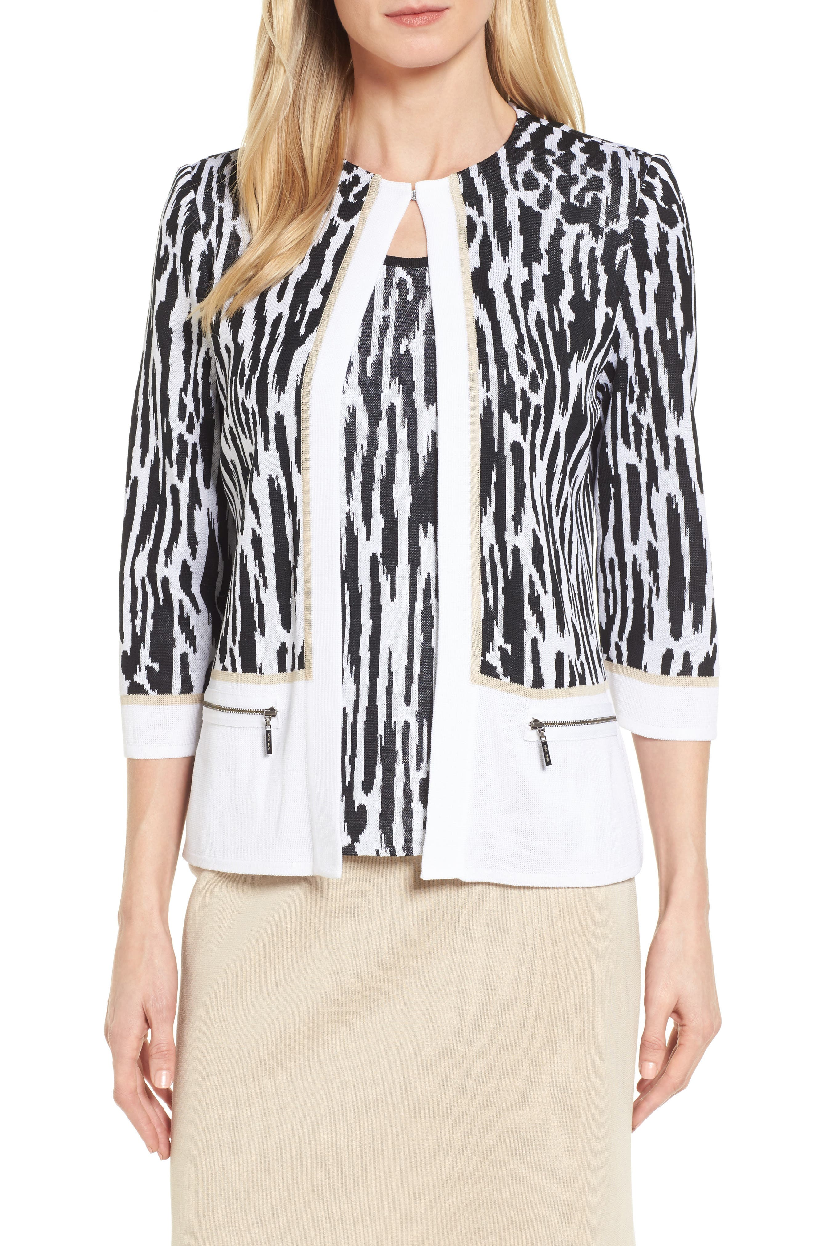 Three Quarter Sleeve Zip Pocket Jacket,                         Main,                         color, White/ Black/ Twig