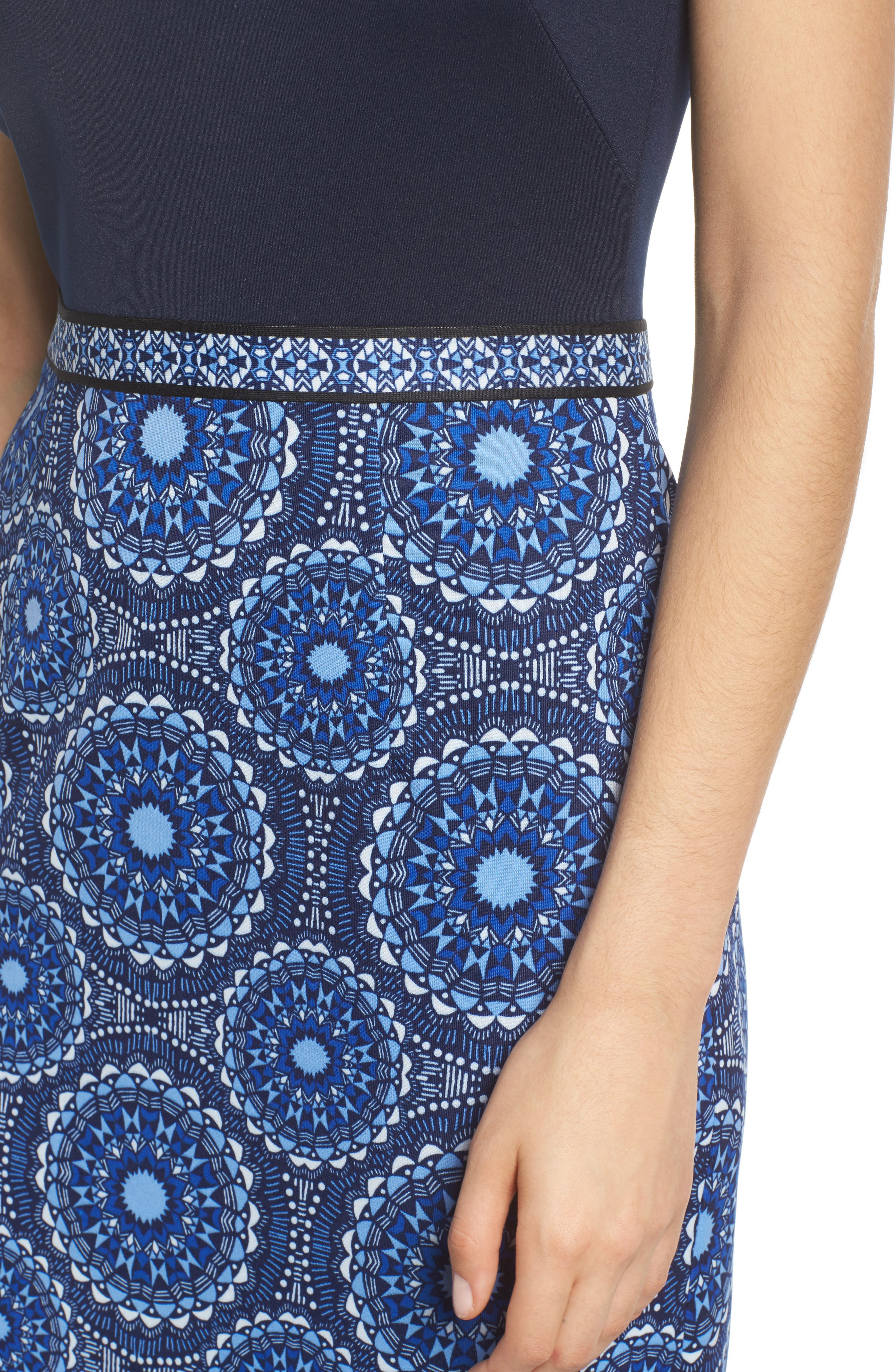 Scuba Sheath Dress,                             Alternate thumbnail 4, color,                             Soft White/ Sky Blue