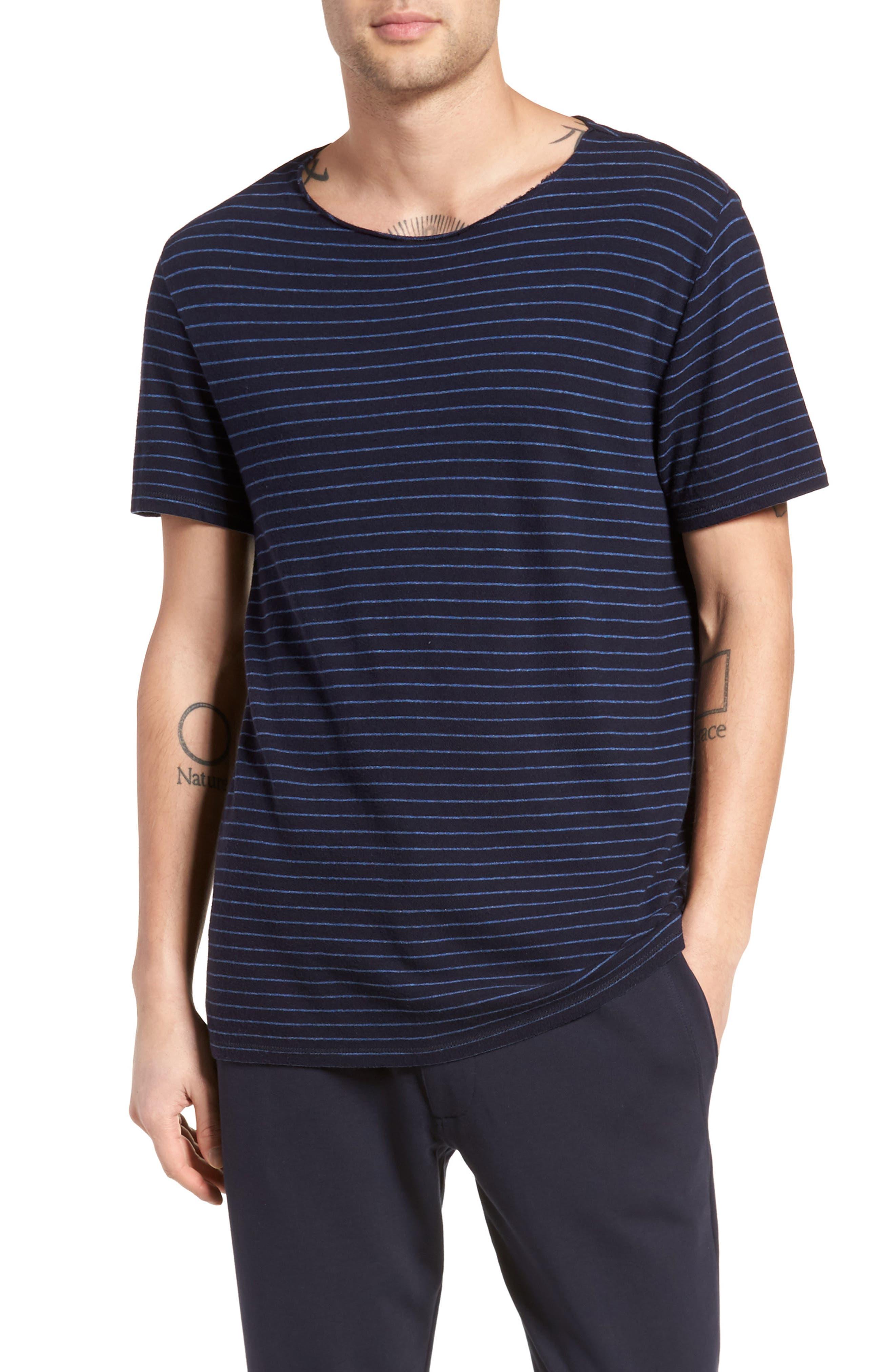 Raw Edge Stripe T-Shirt,                             Main thumbnail 1, color,                             New Coastal/ H Lake