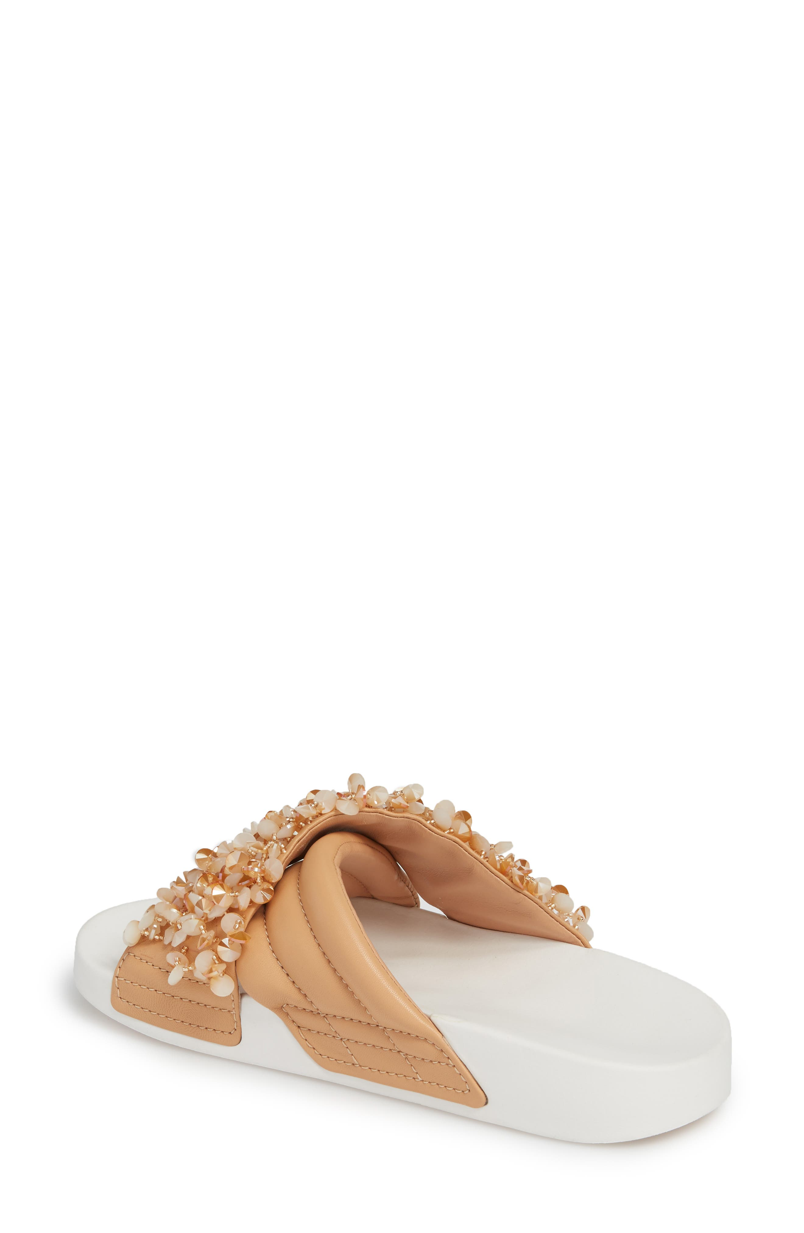 Logan Embellished Slide Sandal,                             Alternate thumbnail 2, color,                             Natural Vachetta/ Cassia