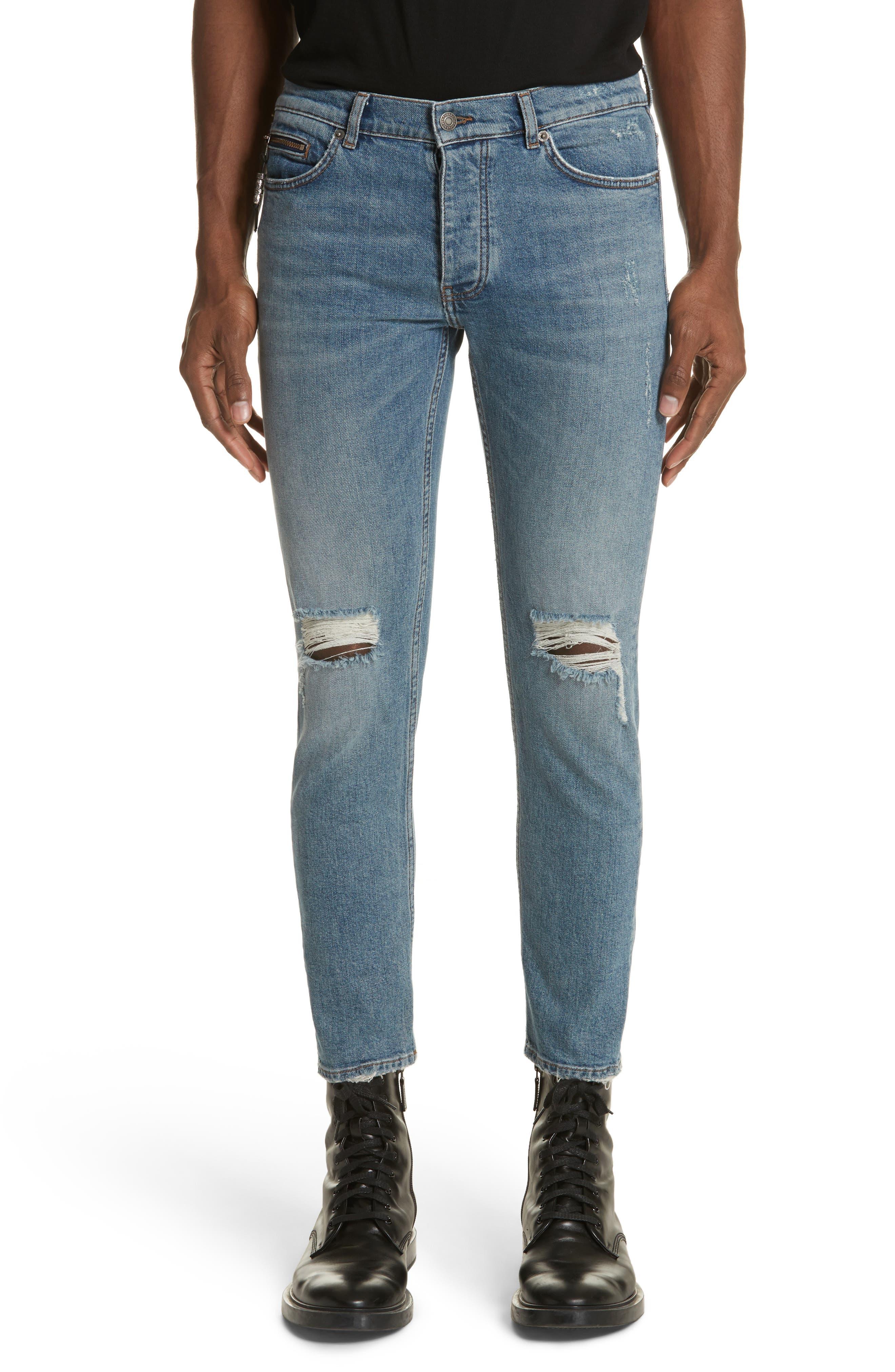 Destroyed Skinny Fit Jeans,                         Main,                         color, Blu 88