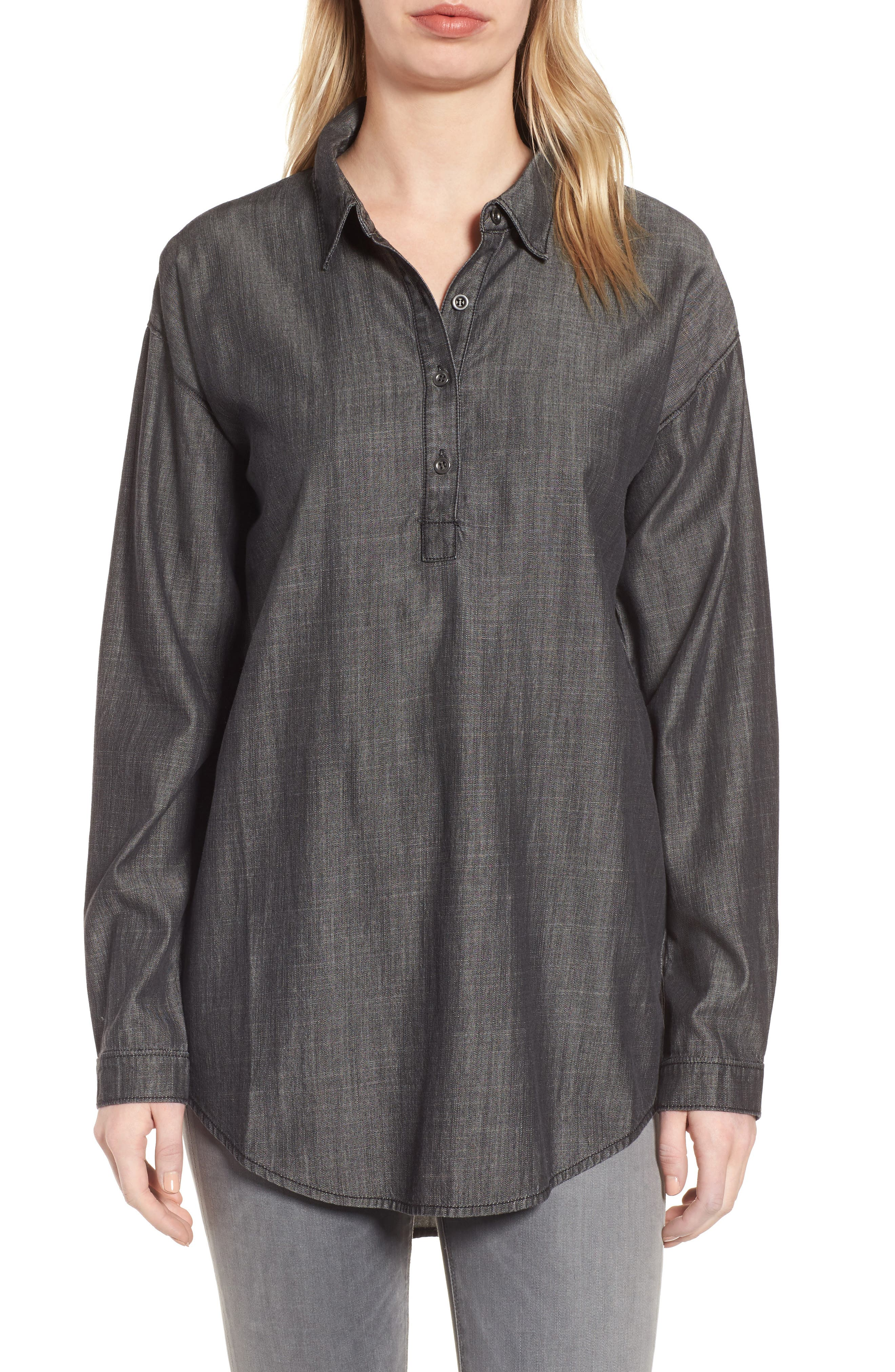 Tencel<sup>®</sup> Lyocell & Organic Cotton Tunic Shirt,                             Main thumbnail 1, color,                             Black