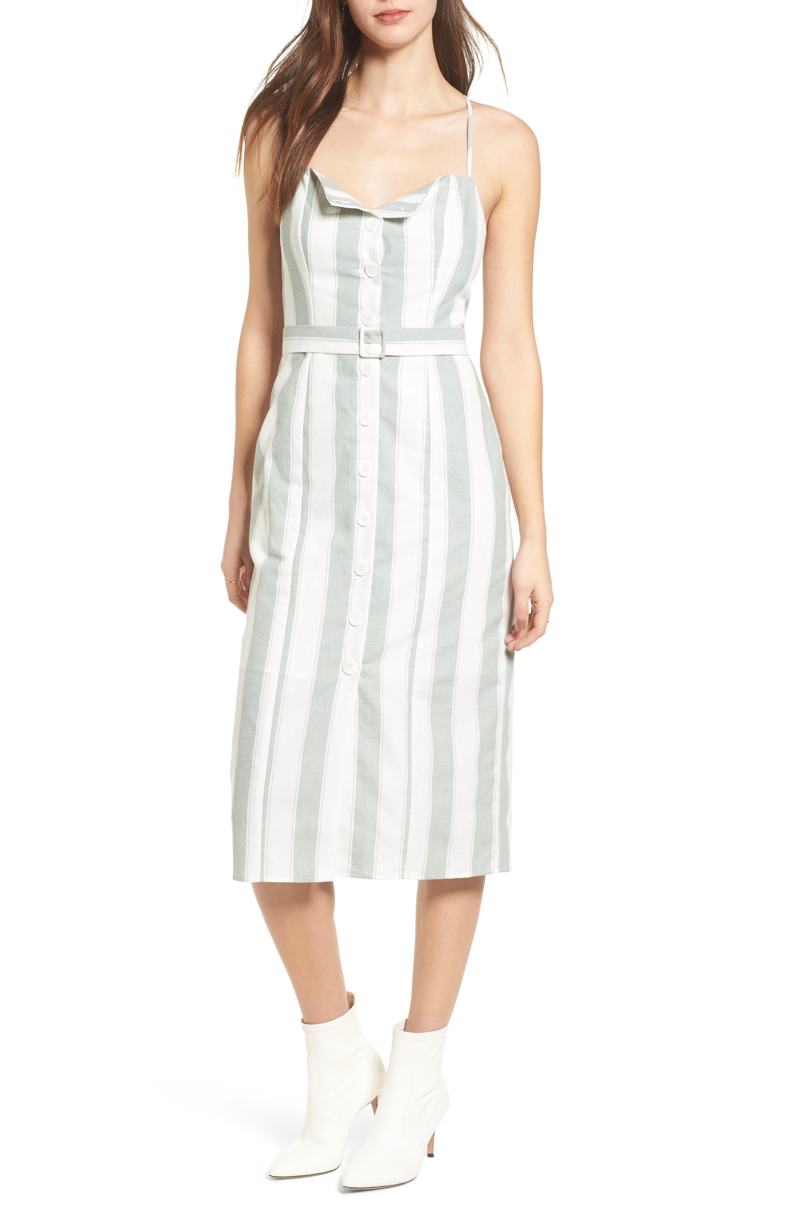Poetic Stripe Sundress,                         Main,                         color, Sage W White