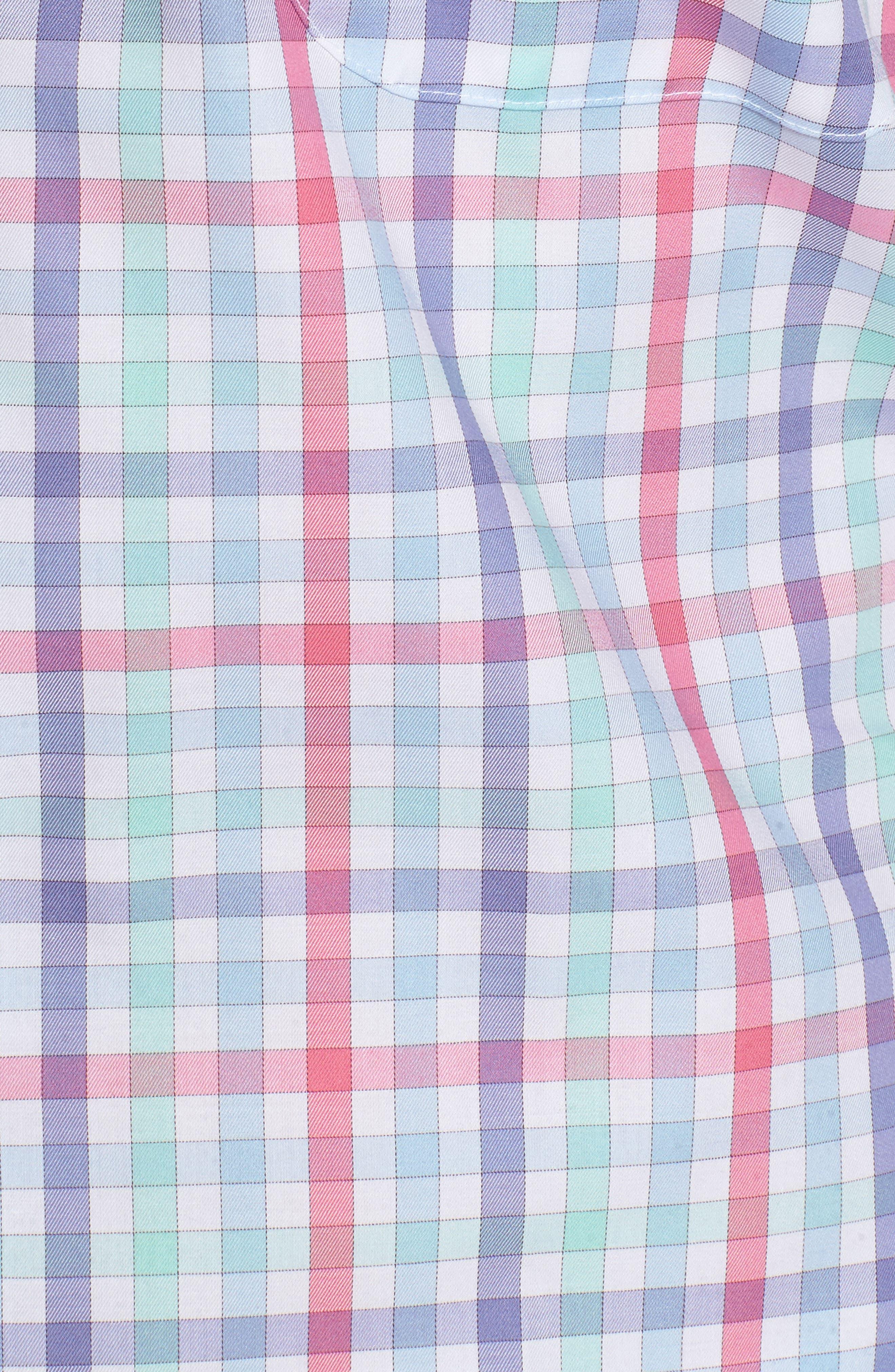 Crown Ease Habanero Regular Fit Check Sport Shirt,                             Alternate thumbnail 5, color,                             Tar Heel Blue