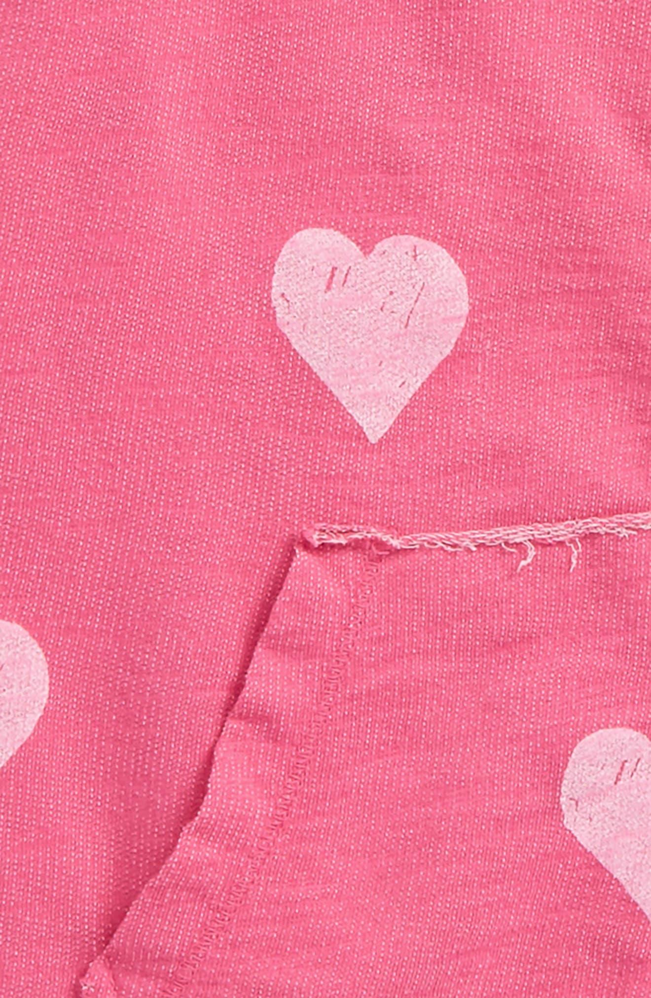 Alternate Image 2  - T2 Love Allover Heart Zip Hoodie (Big Girls)