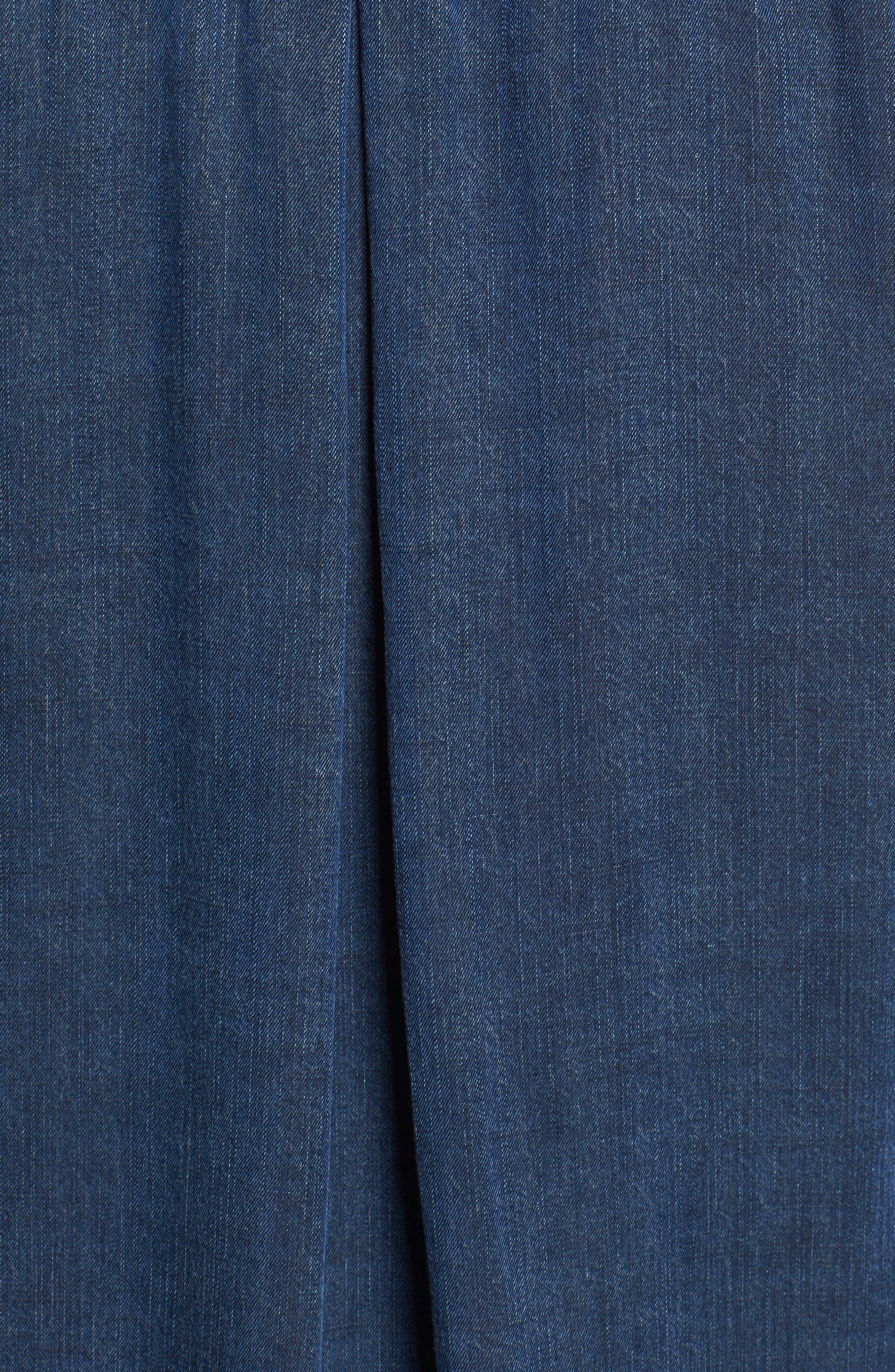 Bethany Tie Cuff Denim Shirt,                             Alternate thumbnail 5, color,                             Dark Vintage Wash