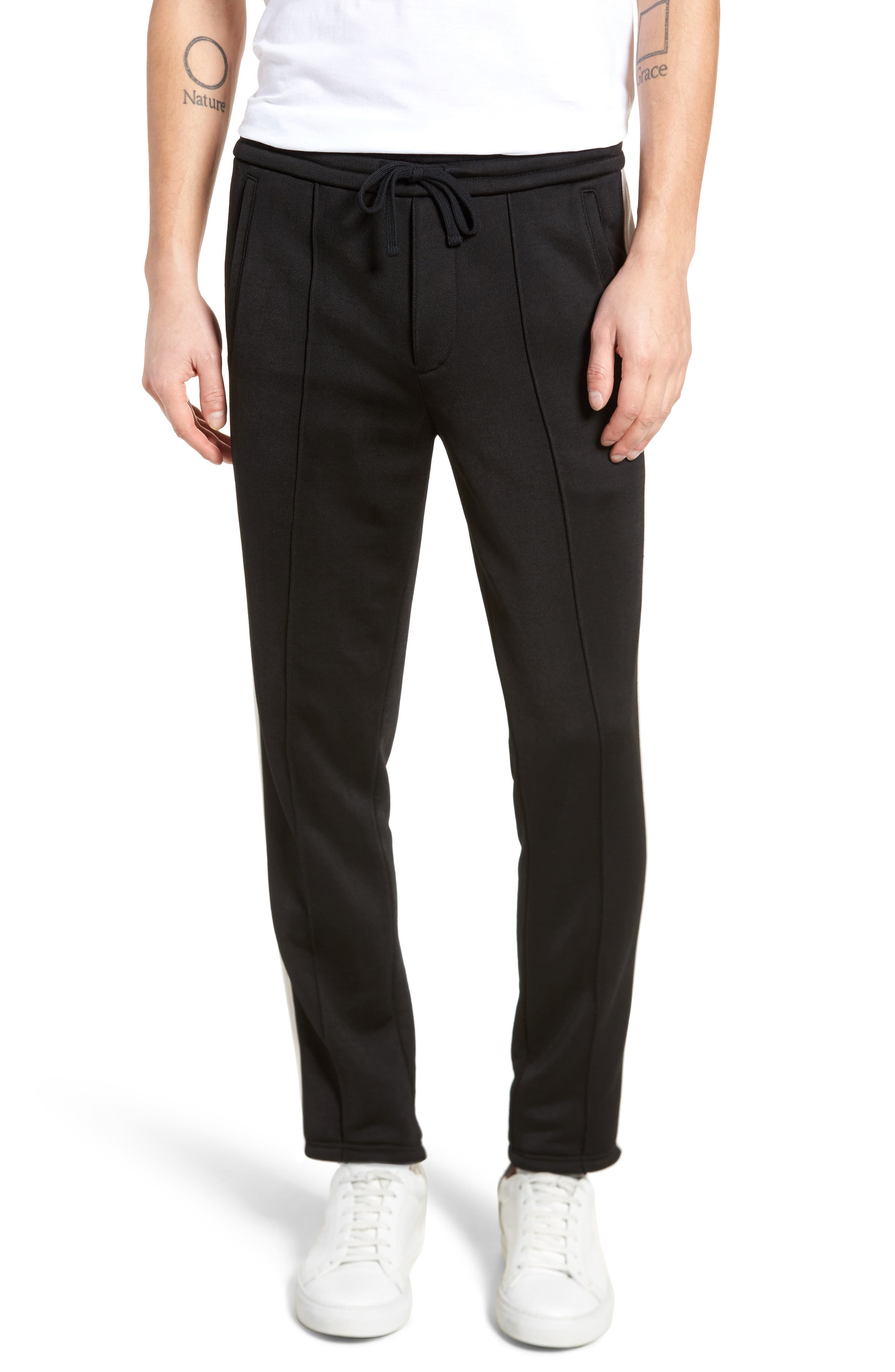 Track Pants,                         Main,                         color, Black/ Stormy White