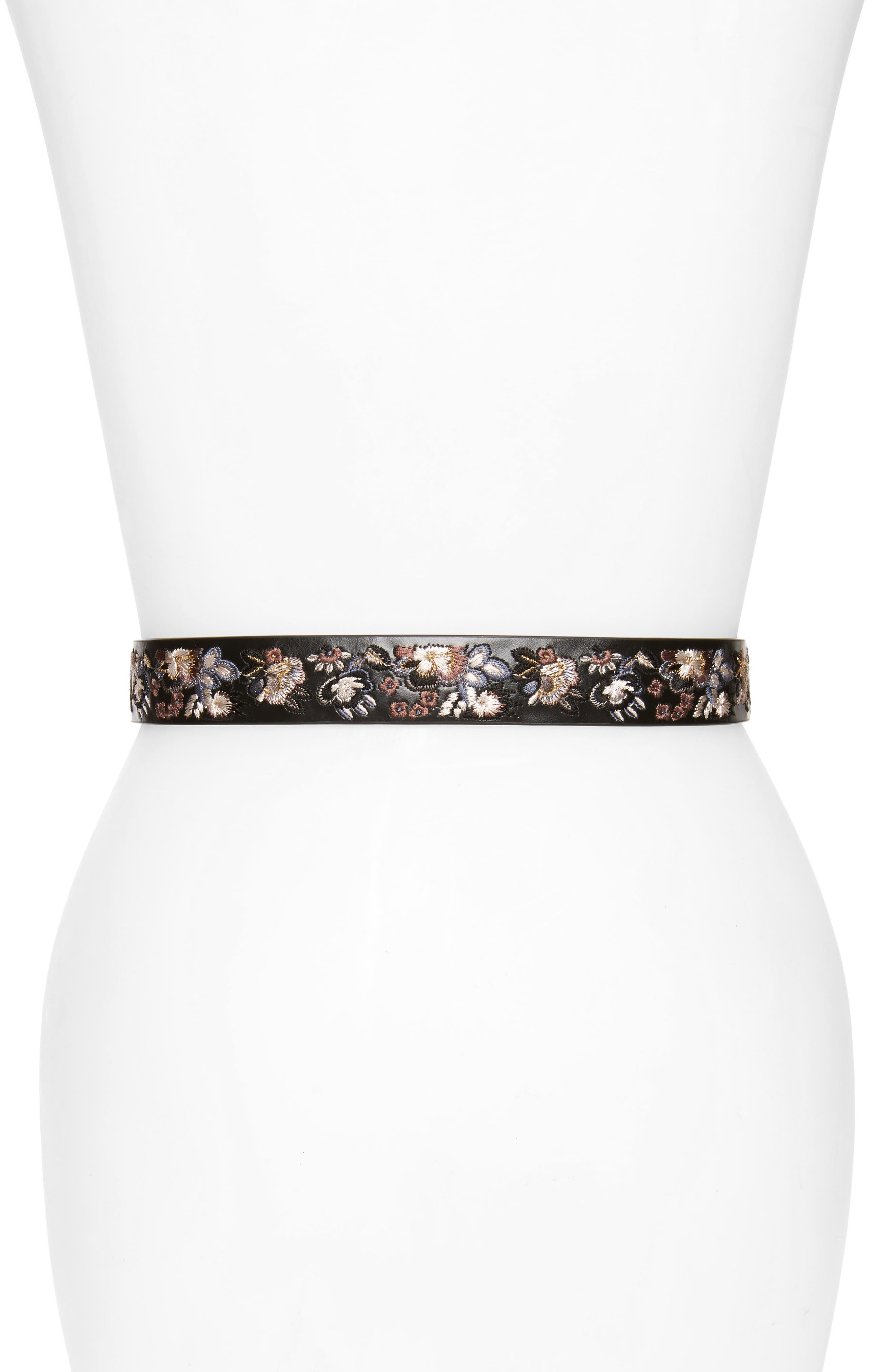 Embroidered Leather Belt,                             Alternate thumbnail 2, color,                             Black / Pol Nickel