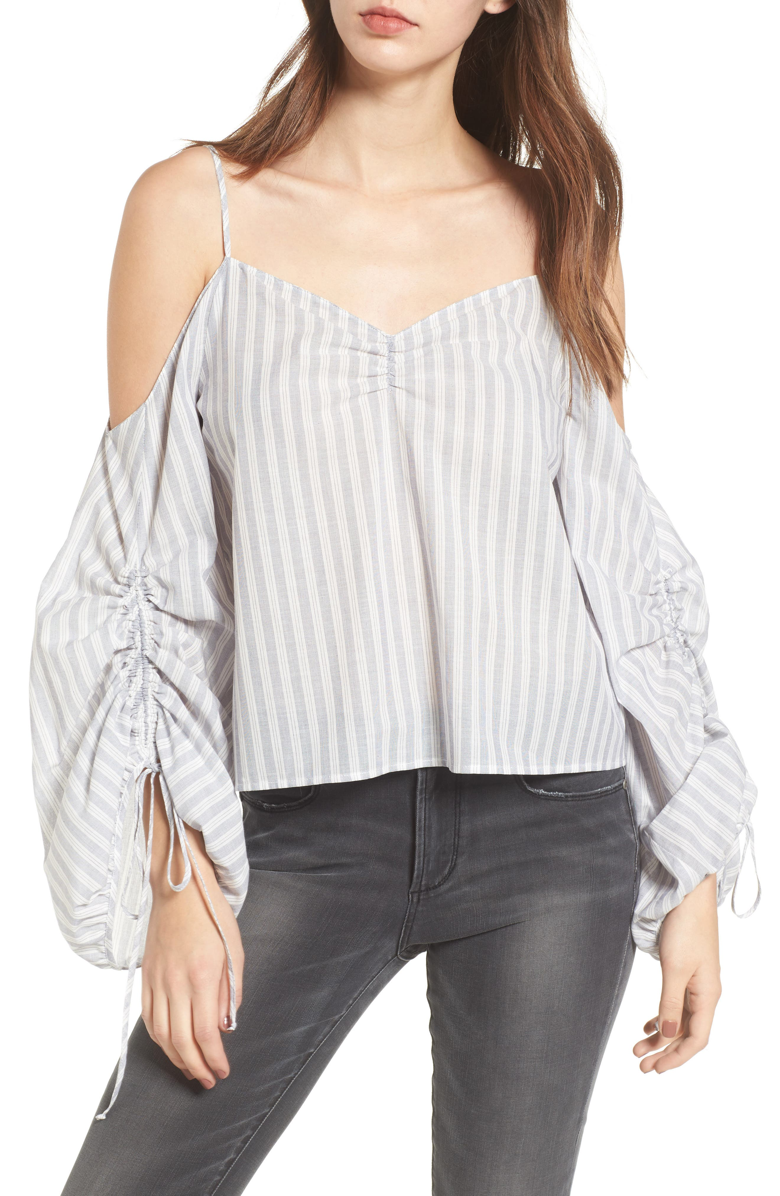 Cinched Balloon Sleeve Top,                             Main thumbnail 1, color,                             Grey/ White Stripe