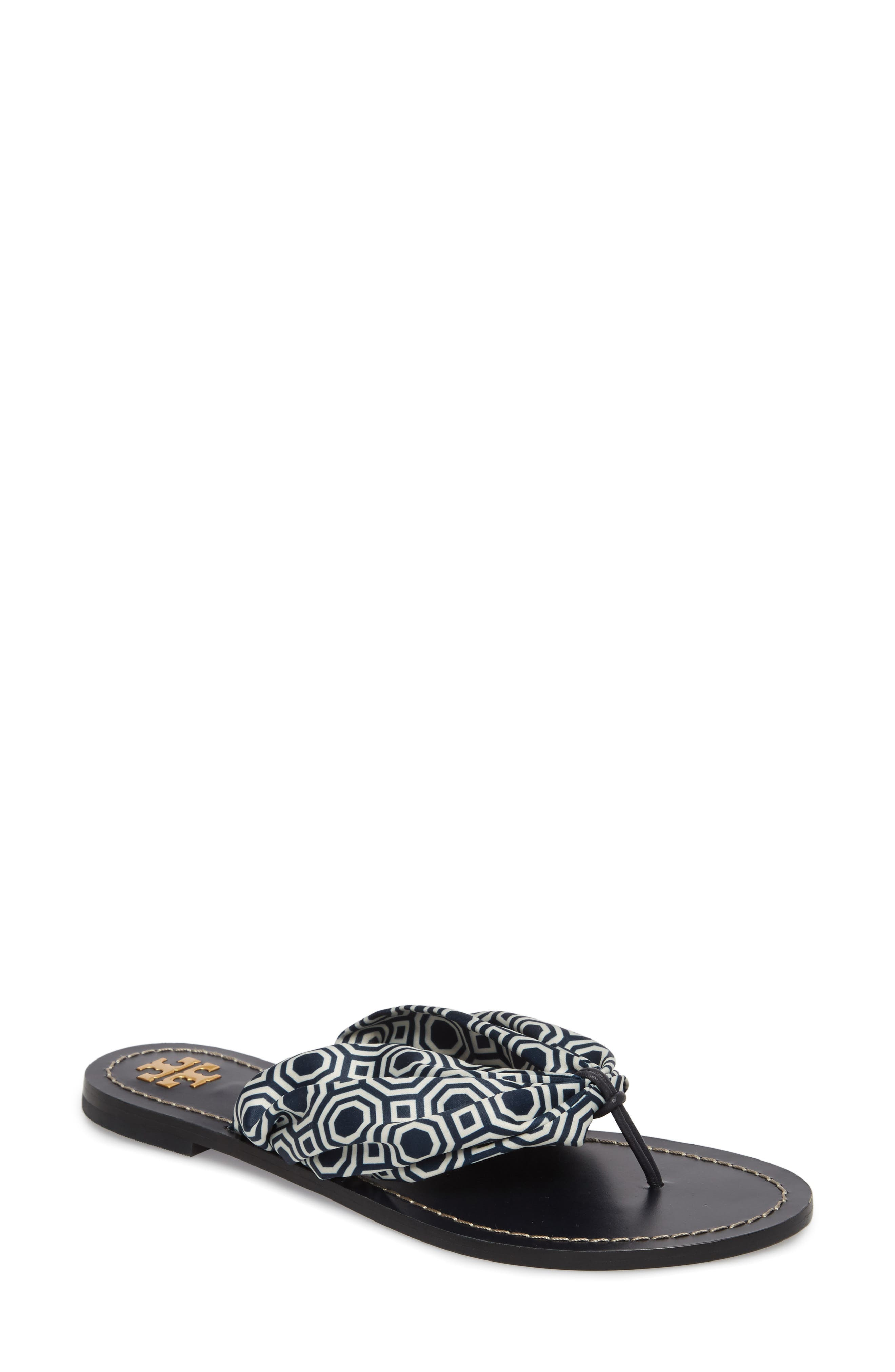 Carson Flip Flop,                             Main thumbnail 1, color,                             Tory Navy Octagon Square