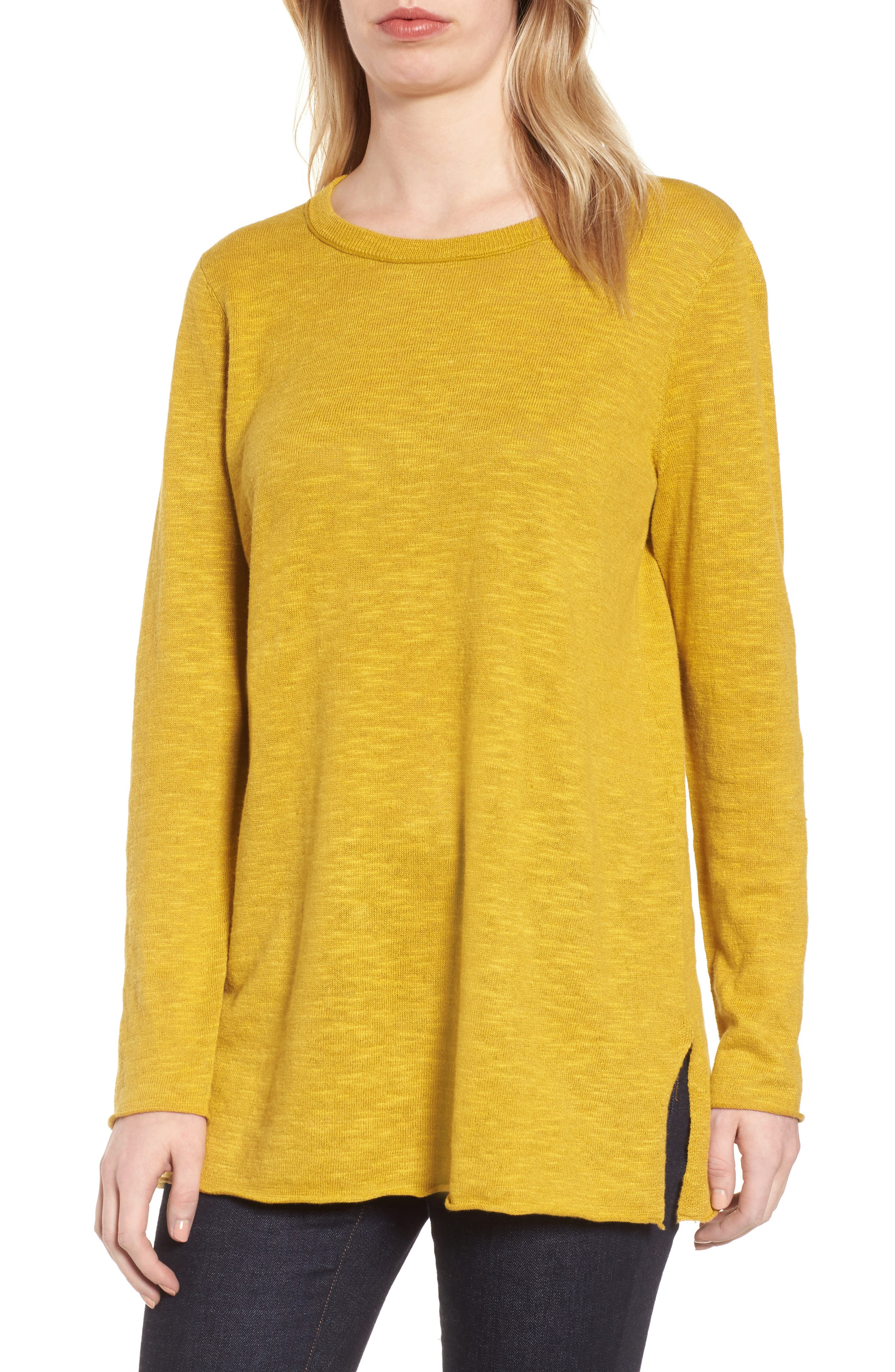 Organic Knit Crewneck Tunic Top,                             Main thumbnail 1, color,                             Mustard Seed