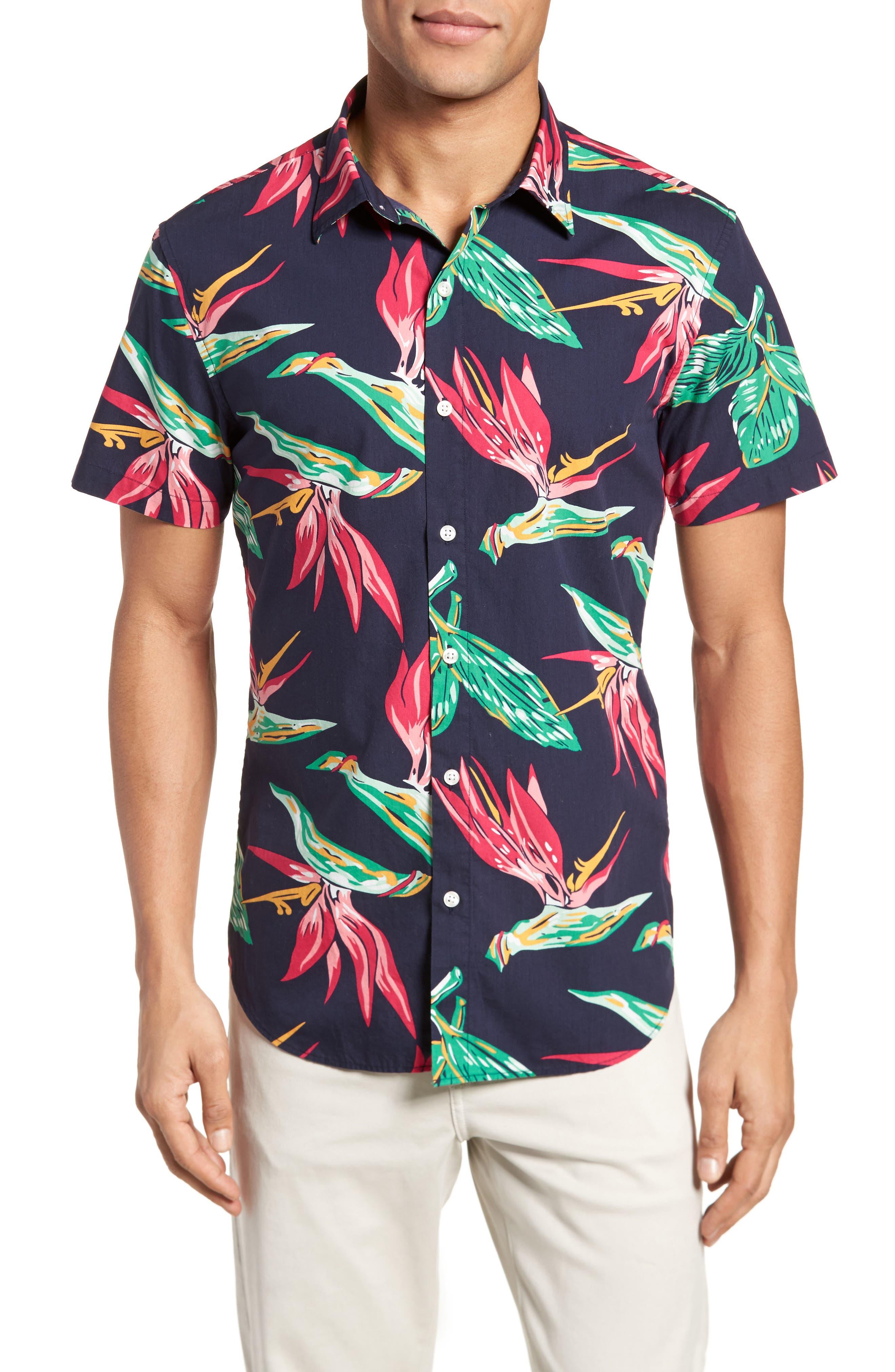 Slim Fit Print Short Sleeve Sport Shirt,                         Main,                         color, Maritime Blue