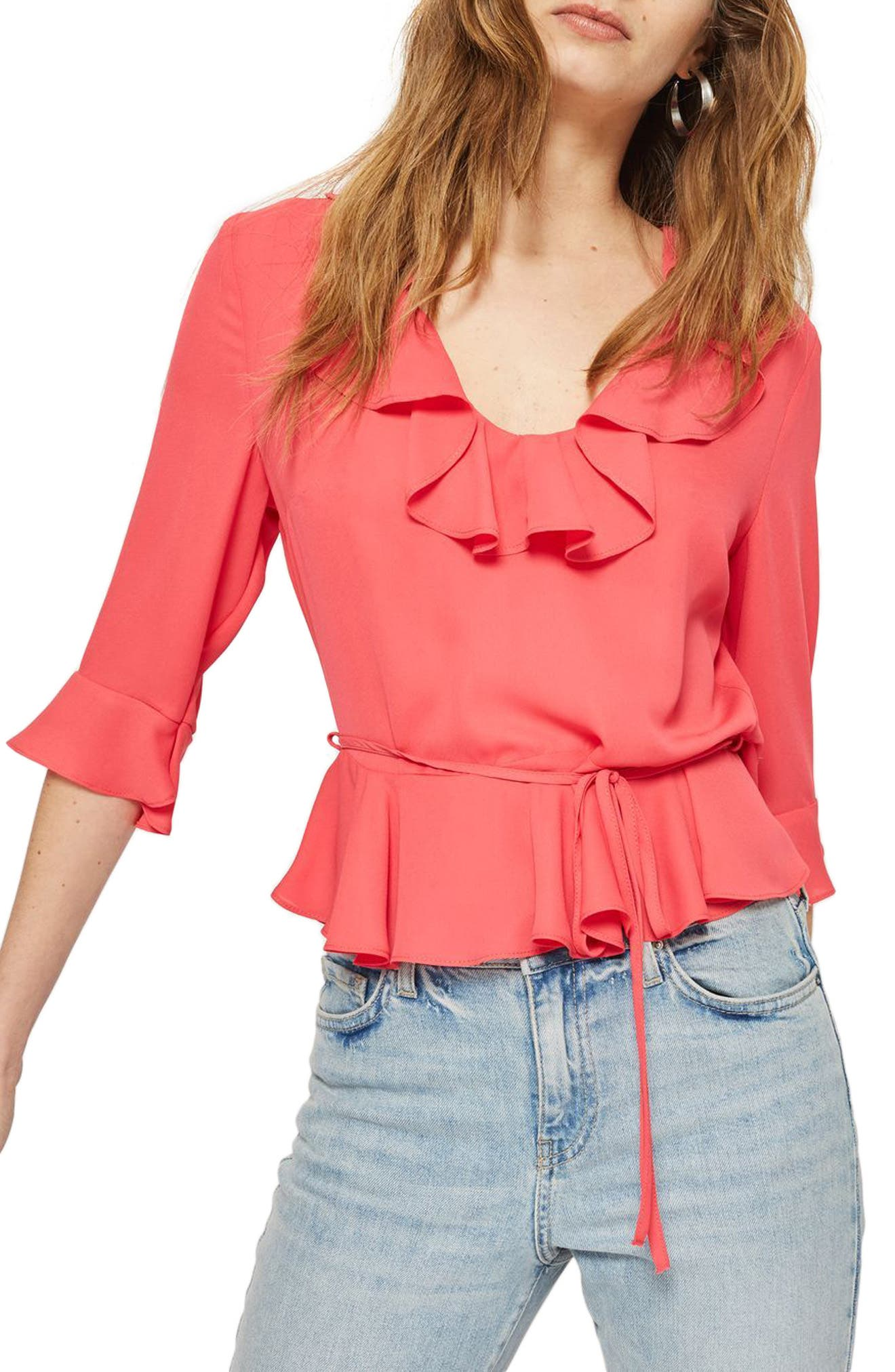 Phoebe Frilly Blouse,                         Main,                         color, Fuschia