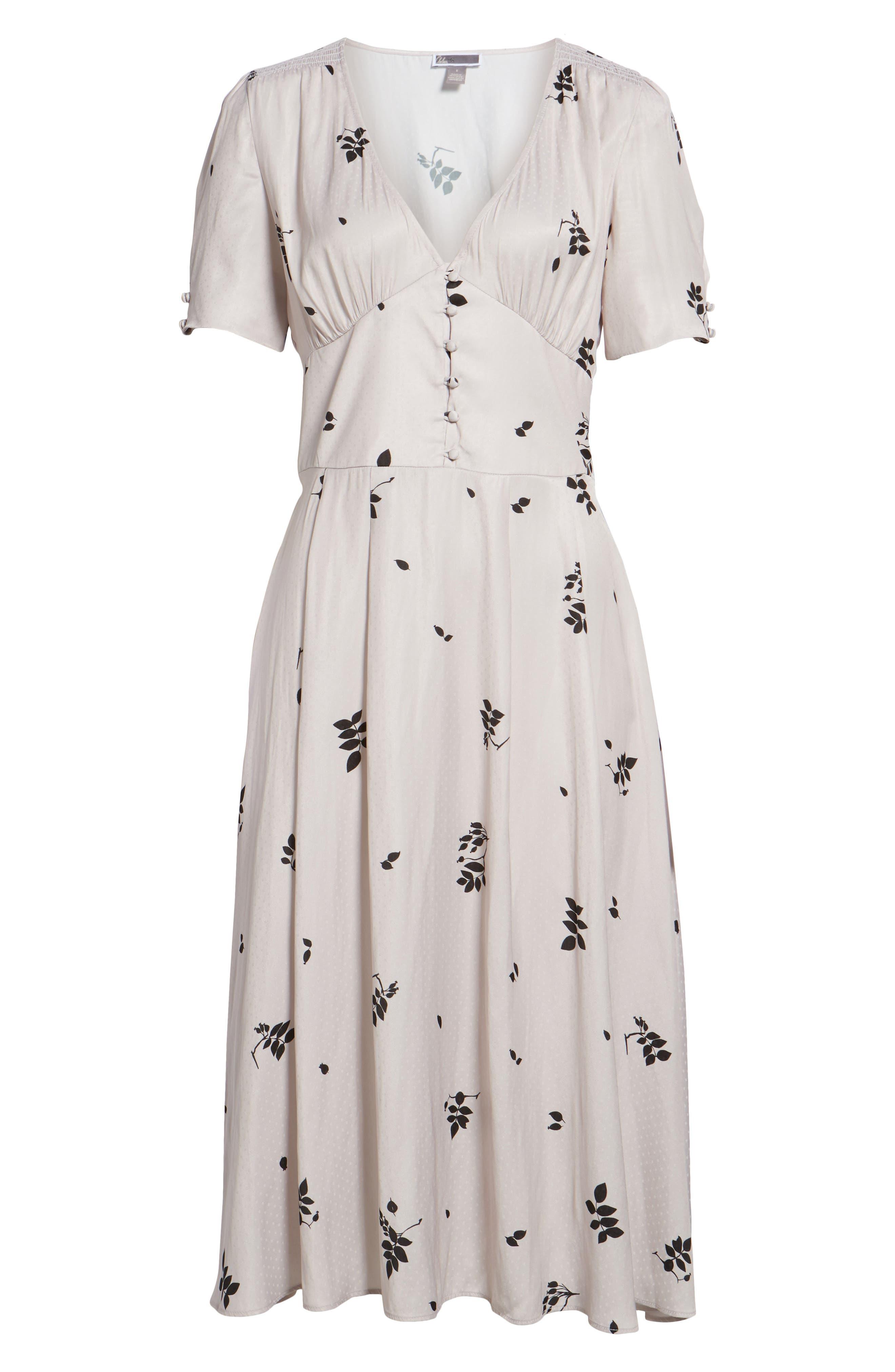 Textured Fit & Flare Midi Dress,                             Alternate thumbnail 7, color,                             Pink Hush Falling Leaves