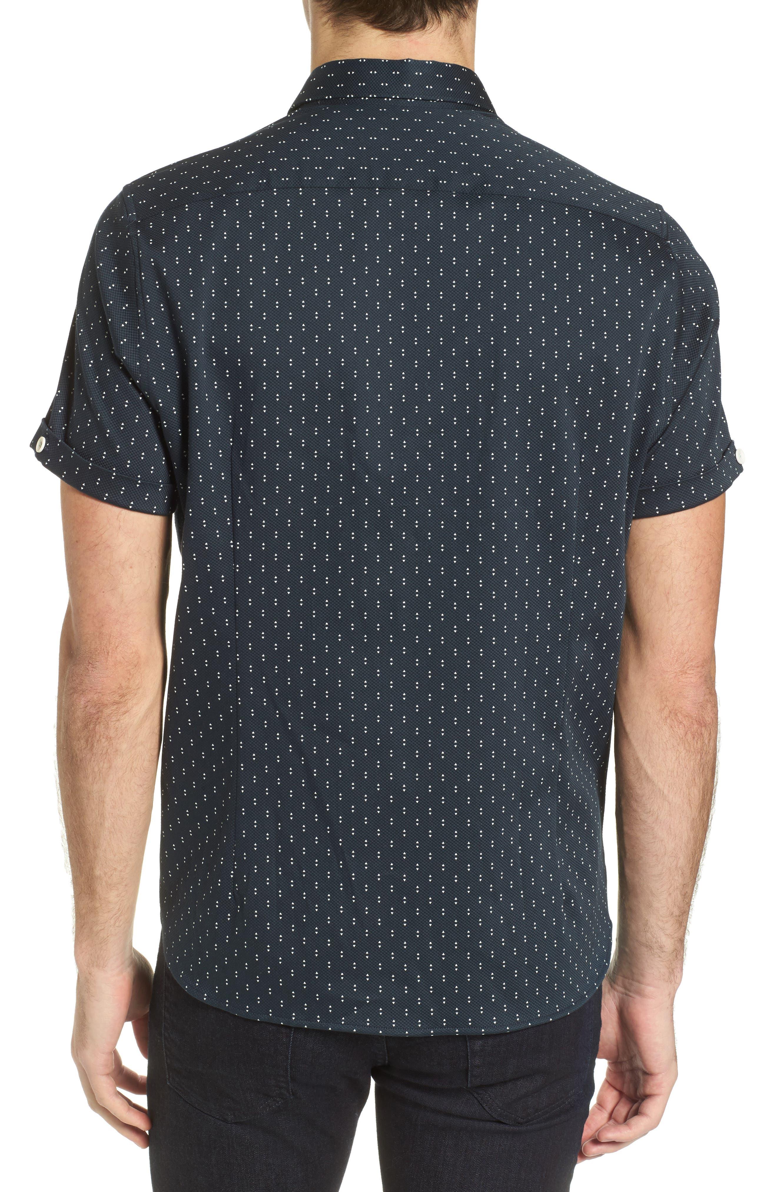 Franko Print Sport Shirt,                             Alternate thumbnail 3, color,                             Navy