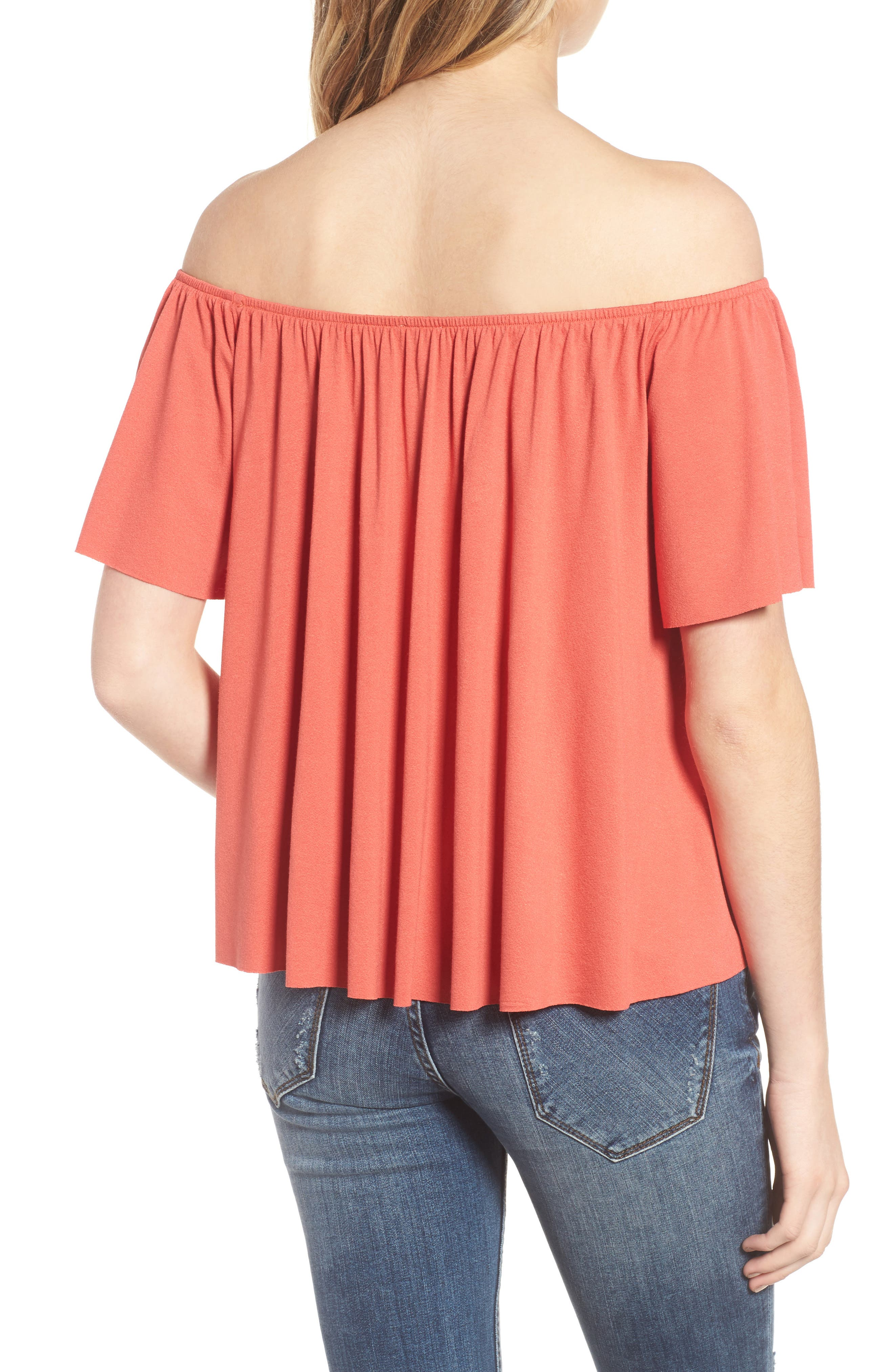 Off the Shoulder Top,                             Alternate thumbnail 2, color,                             Rust Sienna