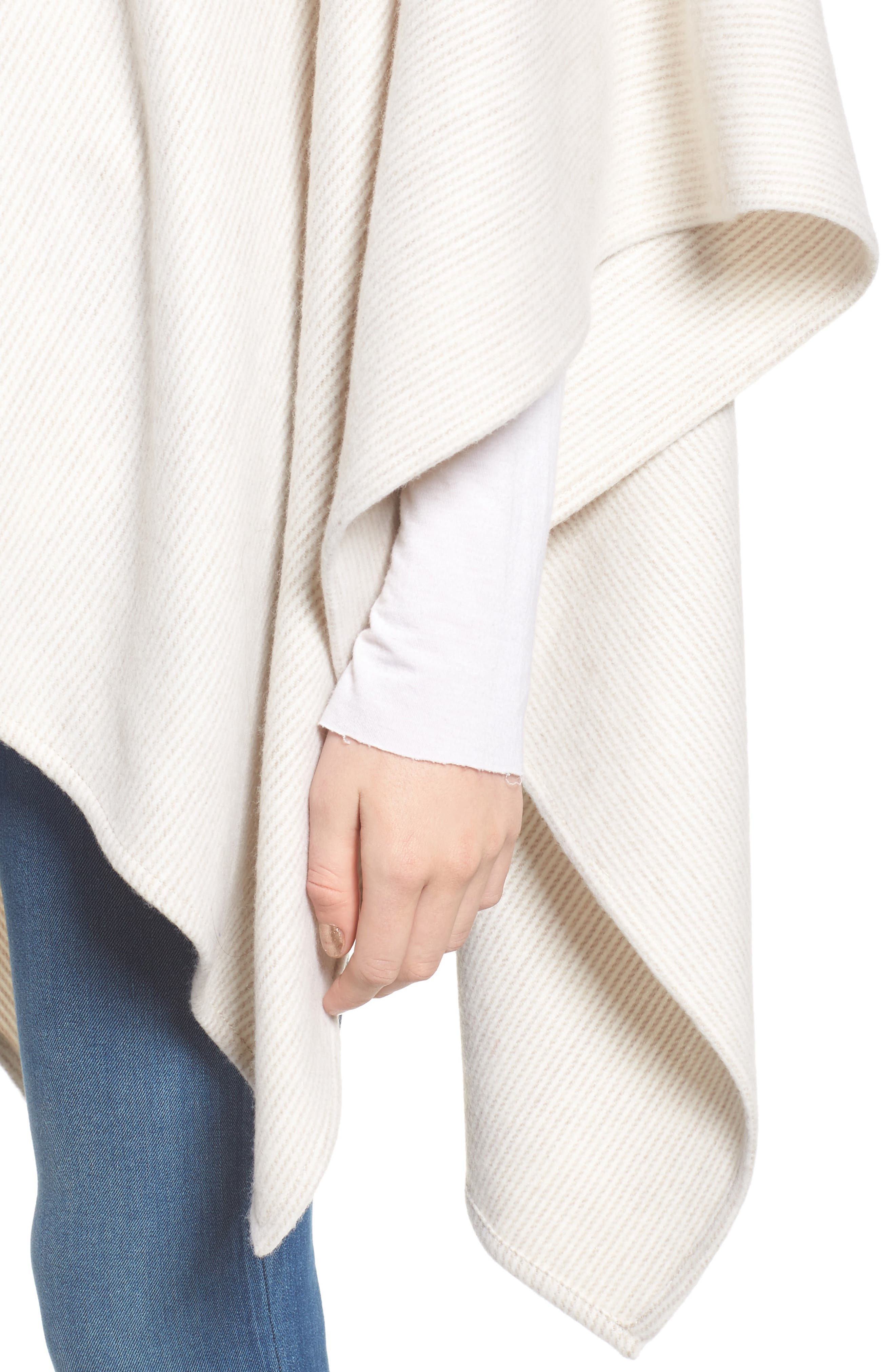 Skinny Stripe Wool Wrap,                             Alternate thumbnail 4, color,                             Camel Multi