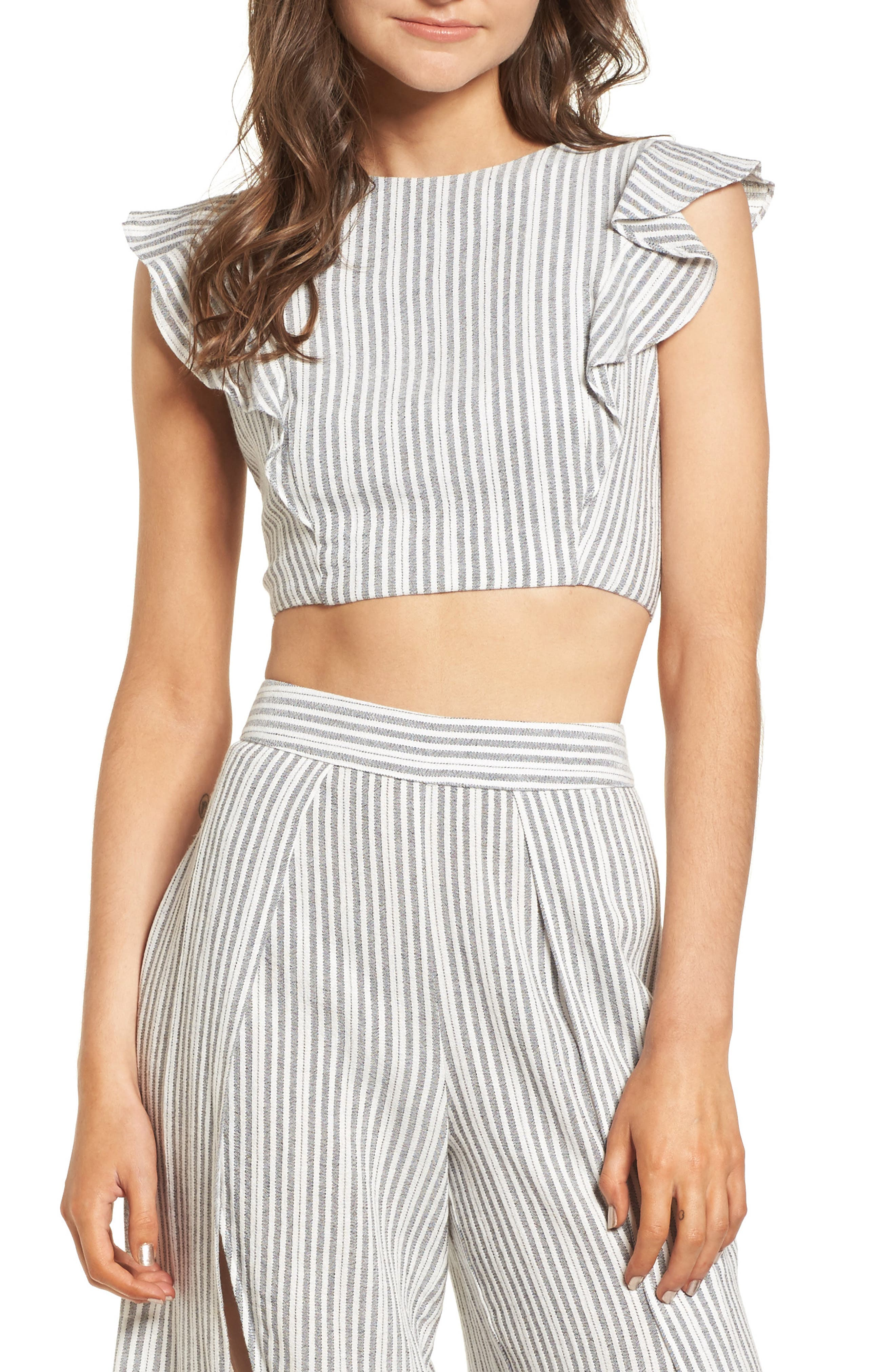 Vacay Flutter Sleeve Crop Top,                         Main,                         color, Grey