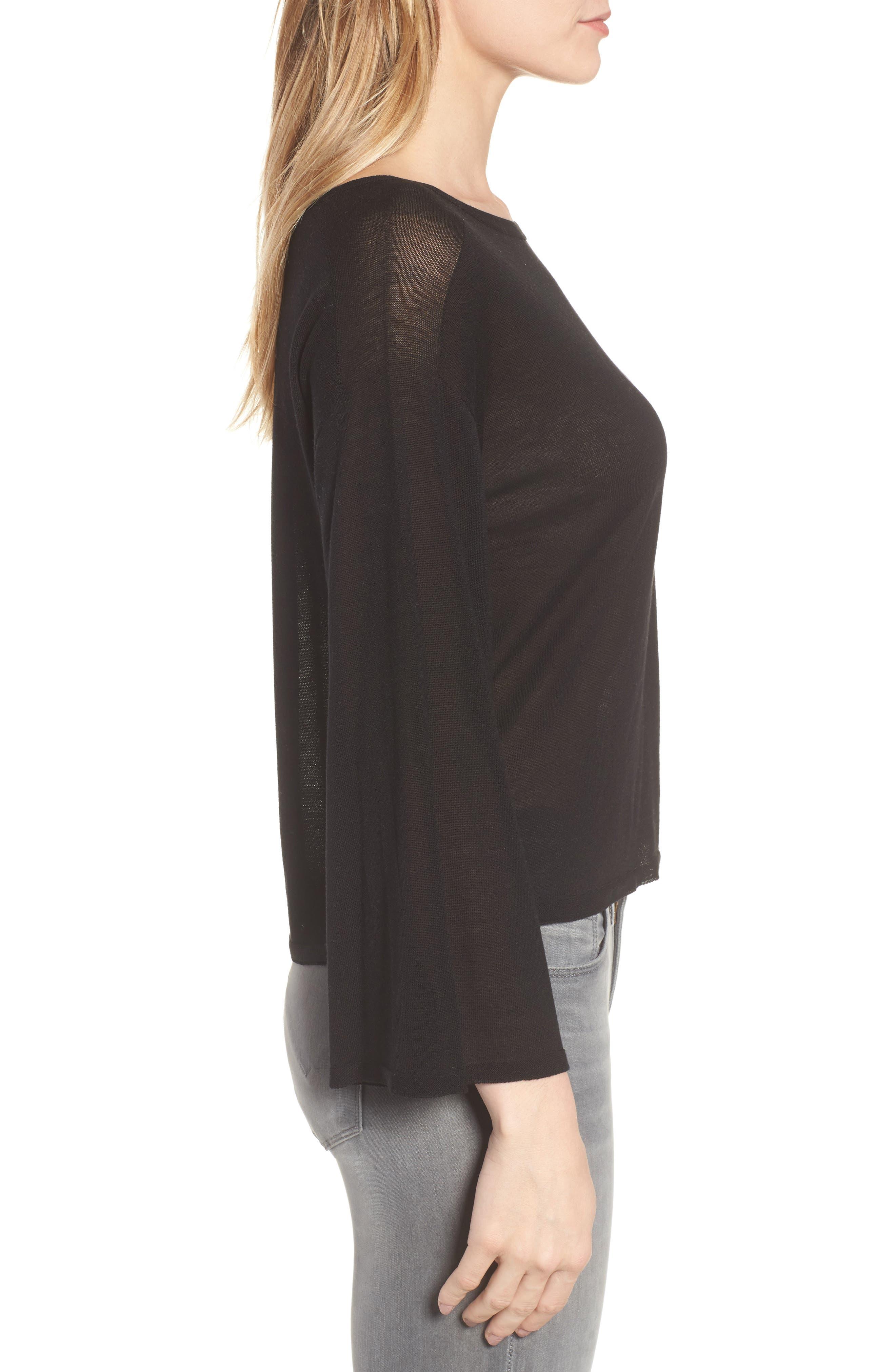 Tencel<sup>®</sup> Lyocell Knit Sweater,                             Alternate thumbnail 3, color,                             Black