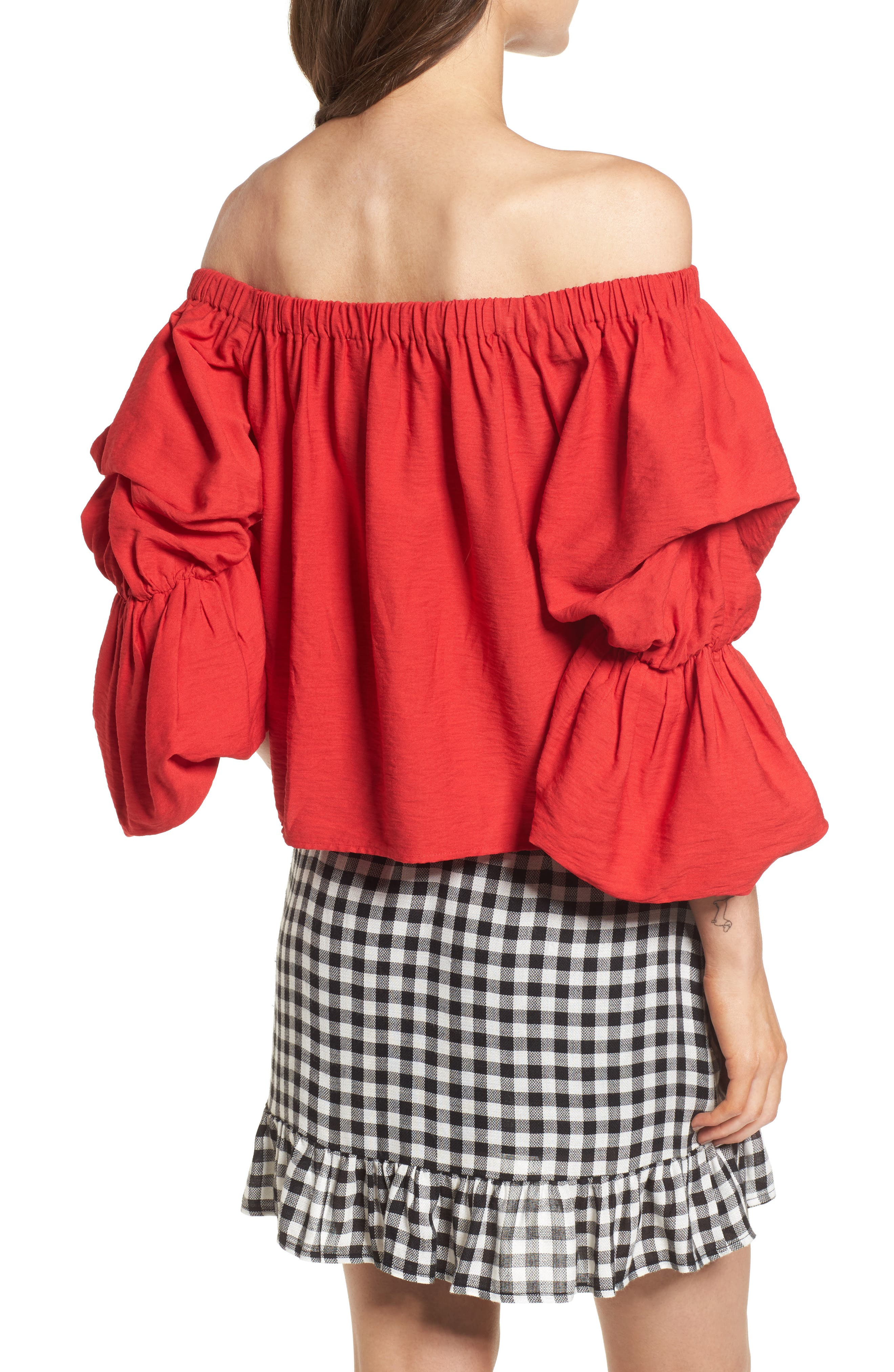 Puff Sleeve Off the Shoulder Top,                             Alternate thumbnail 2, color,                             Red