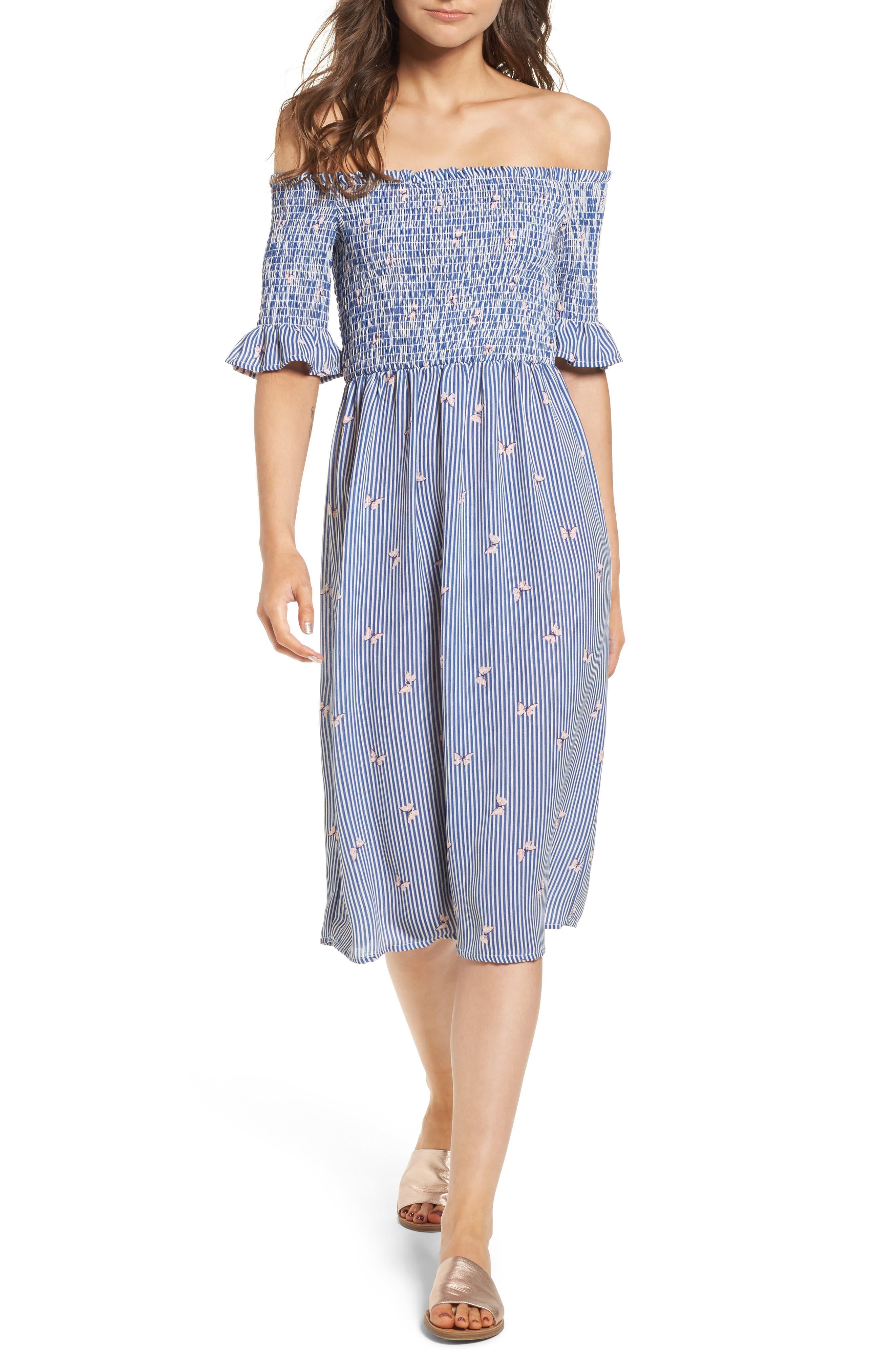 Smocked Midi Dress,                             Main thumbnail 1, color,                             Off White/ Blue