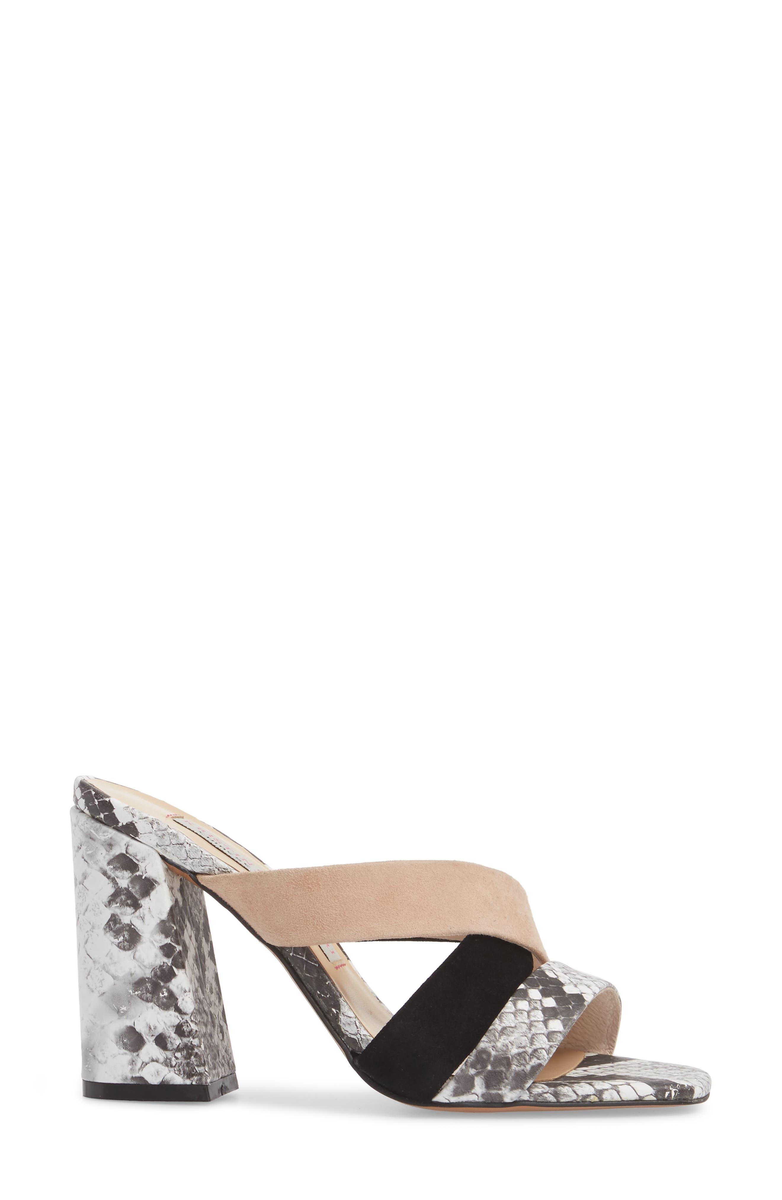 Lola Slide Sandal,                             Alternate thumbnail 3, color,                             Grey/ White Print Leather