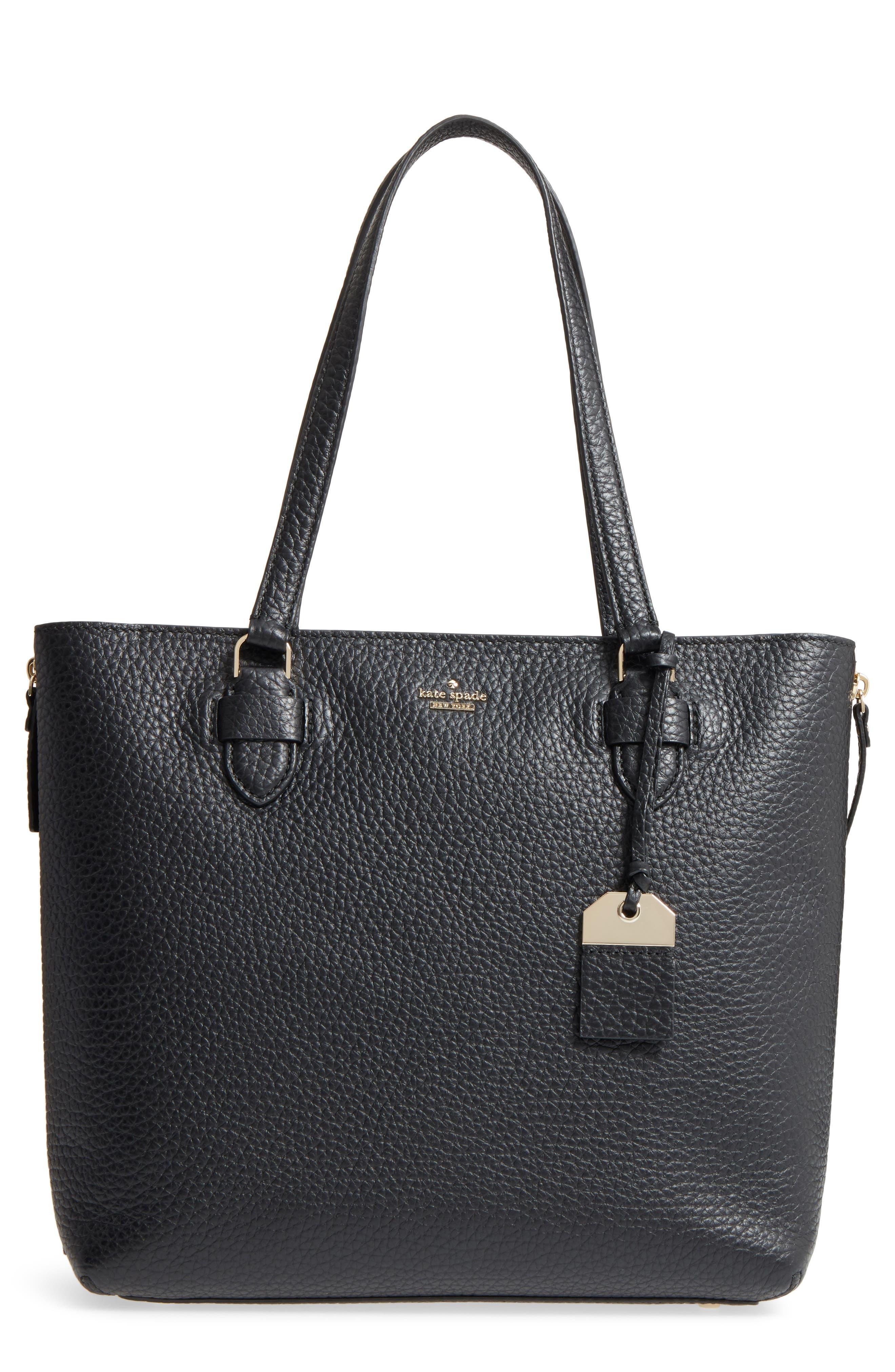 carter street - selena leather tote,                         Main,                         color, Black