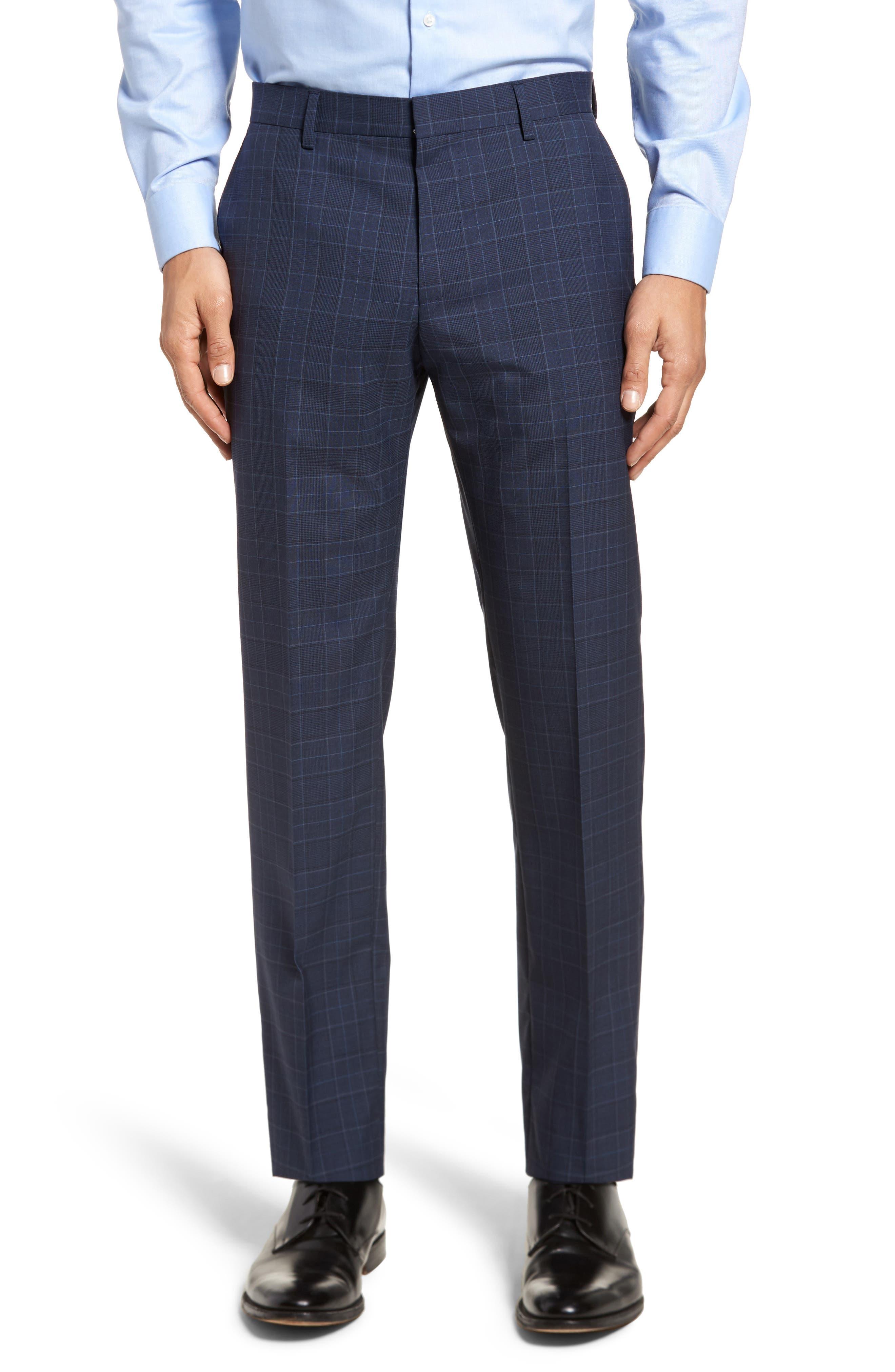 Hutson/Gander Trim Fit Plaid Wool Suit,                             Alternate thumbnail 6, color,                             Navy