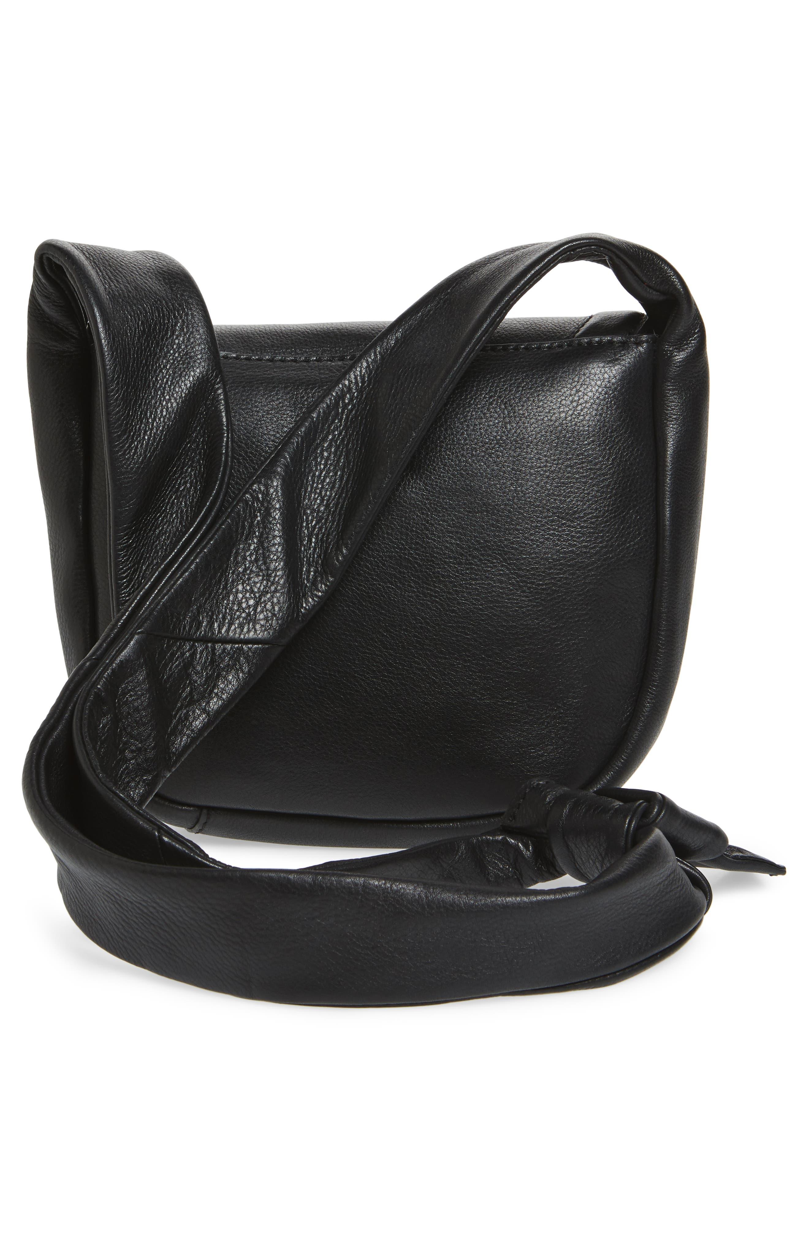 Jasmine Leather Saddle Bag,                             Alternate thumbnail 3, color,                             Black